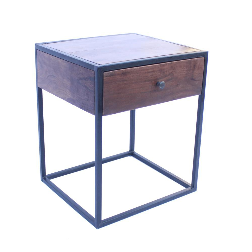 benzara wood brown and iron black contemporary side table upt end tables zara accent metal hairpin legs glass dining chairs target bench seat corner patio umbrella modern coffee