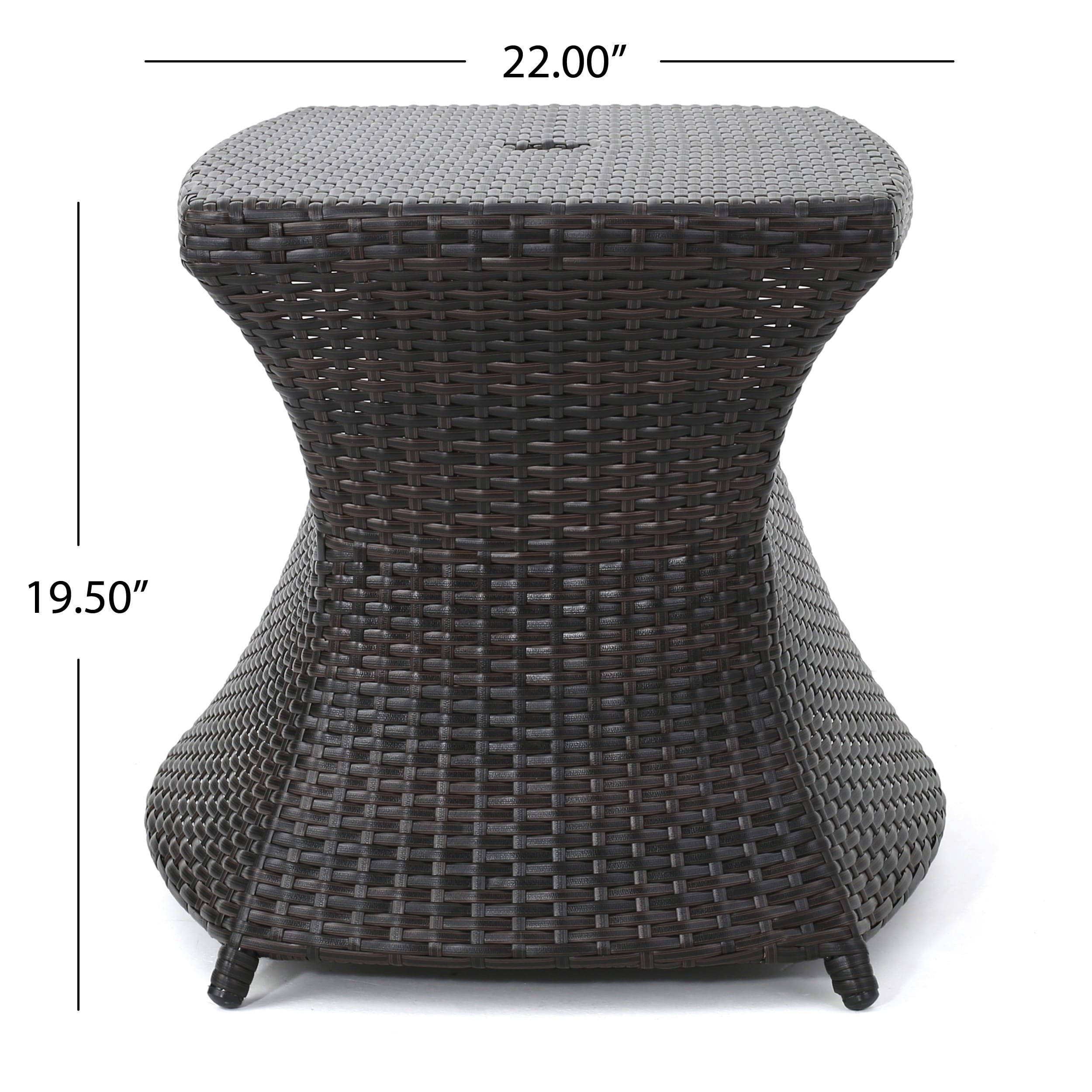 berkeley outdoor wicker side table with umbrella hole christopher knight home free shipping today built tables cast aluminium garden furniture kids corner curio cabinet espresso