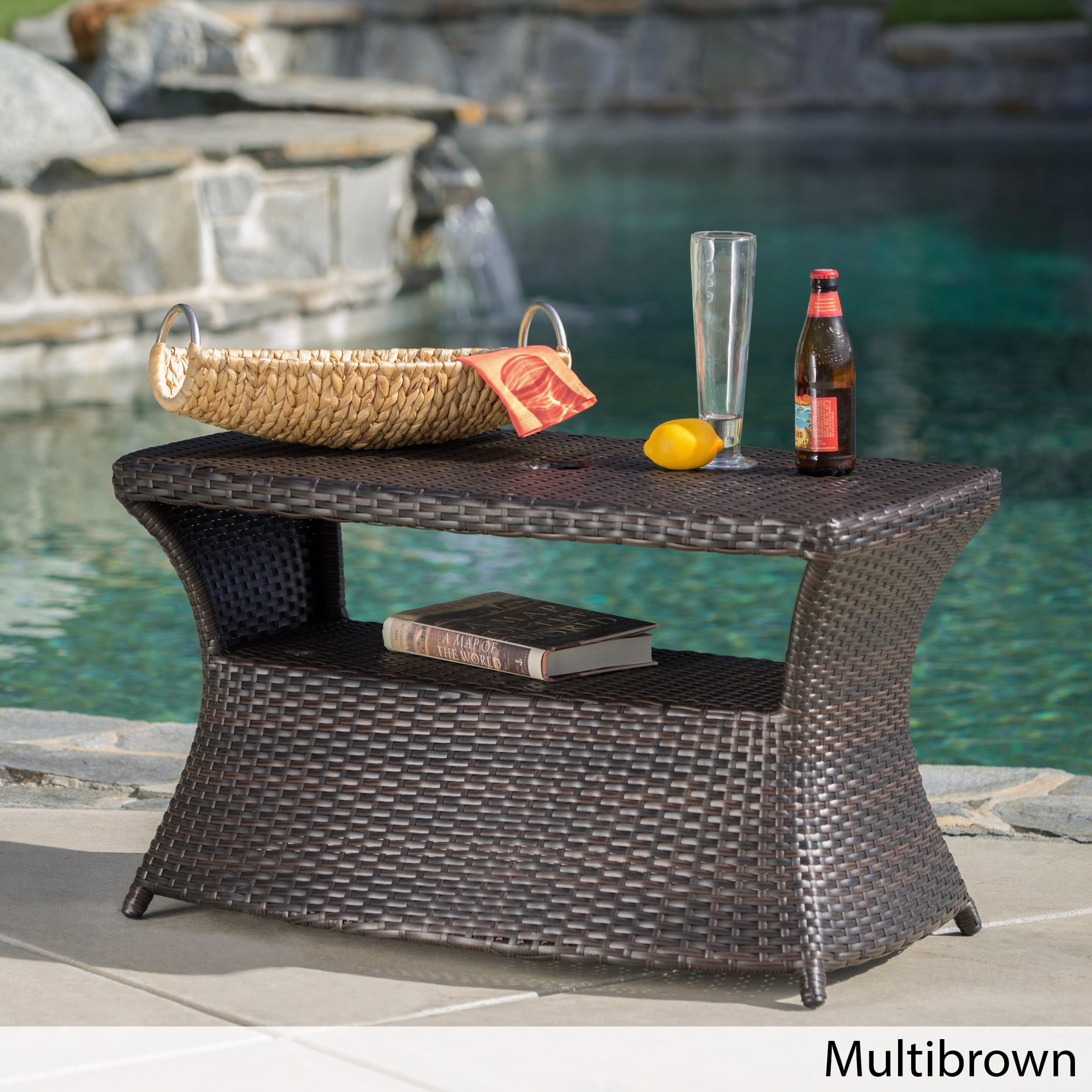 berkeley outdoor wicker side table with umbrella hole christopher knight home free shipping today industrial metal bedside carsons furniture dorm accessories circular cotton