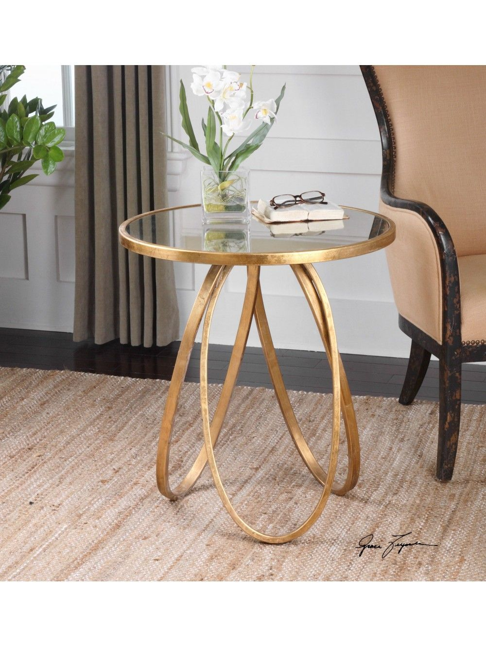 bernard accent table landgathome gold end tables with matching mirrors pier one chairs small half moon entry square marble coffee set retro modern carved wood side patio umbrella
