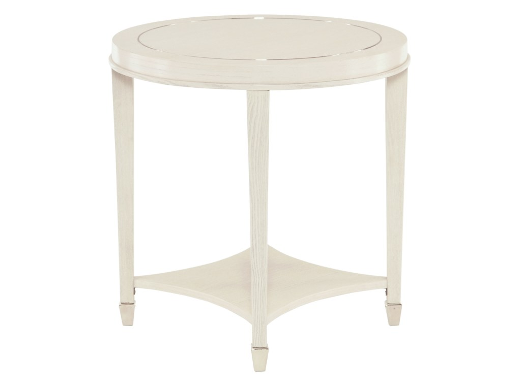 bernhardt criteria round end table with stainless steel inlay products color simplify oval accent criteriaround wooden outdoor chairs patio cover asian lamp shade large umbrella
