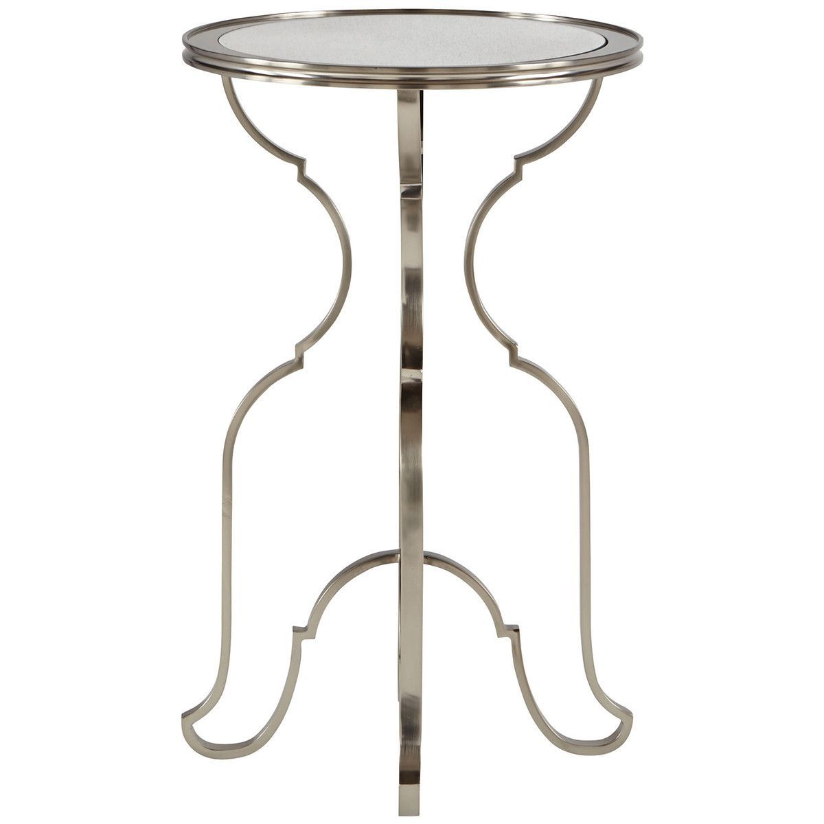 bernhardt occasional laurel round metal accent table metals clarissa windham door cabinet gray leather drum stool champagne ice bucket small white red side wooden legs office