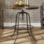 berwick iron industrial round inch adjustable counter height table tribecca home bar accent inspire classic free shipping today hampton bay wicker dining placemats built bbq ideas 150x150