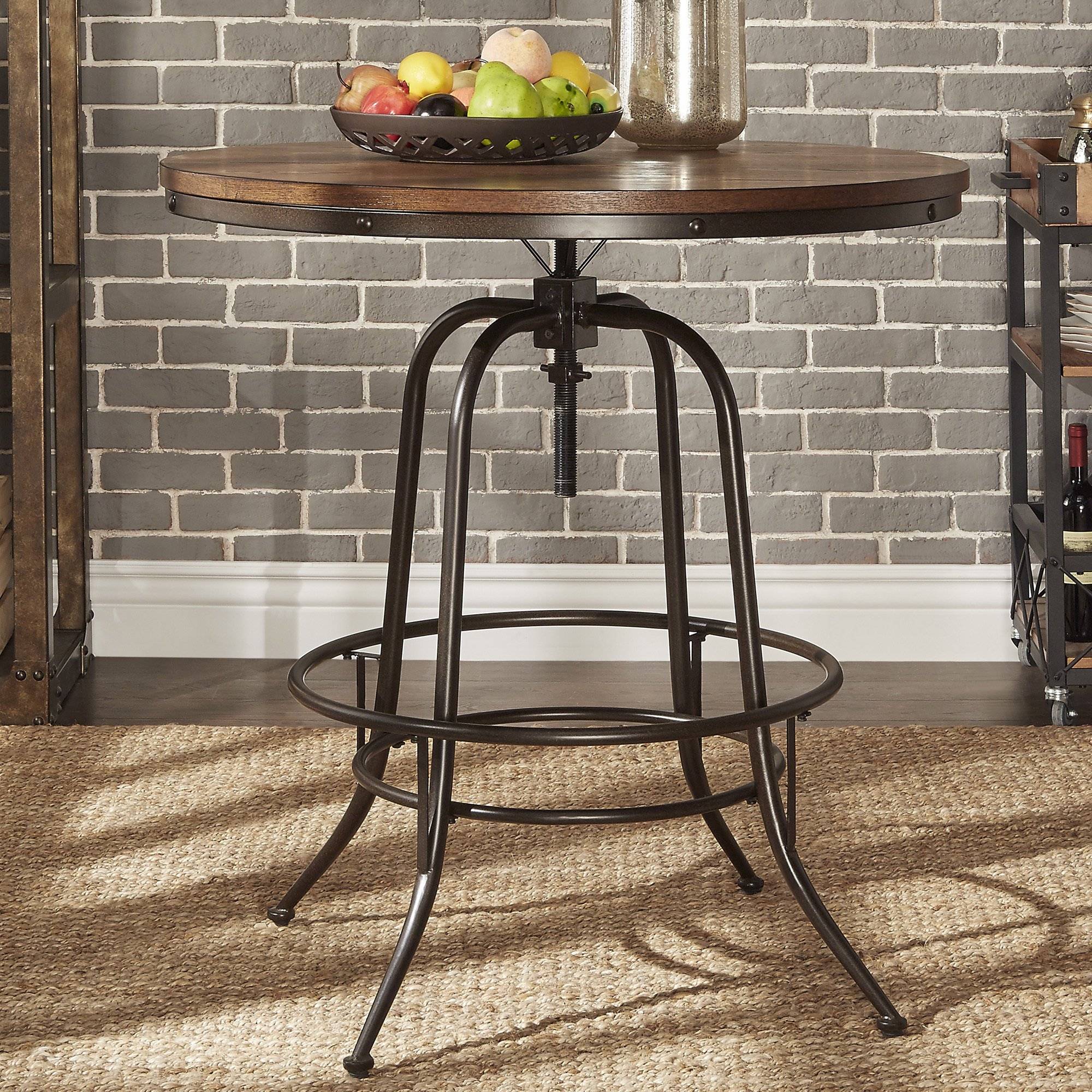 berwick iron industrial round inch adjustable counter height table tribecca home bar accent inspire classic free shipping today hampton bay wicker dining placemats built bbq ideas