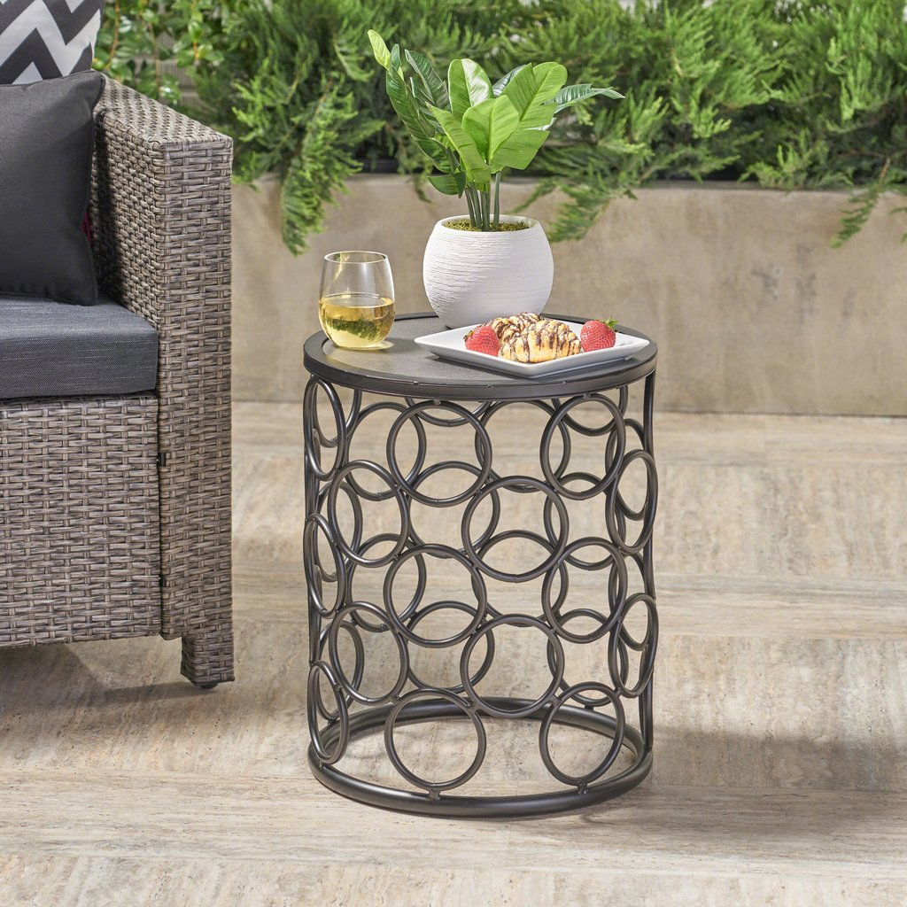 beryl outdoor inch grey finish ceramic tile side table gdf studio ikea cube storage unit bar legs elephant end tables with glass top cool nightstands silver accent round target