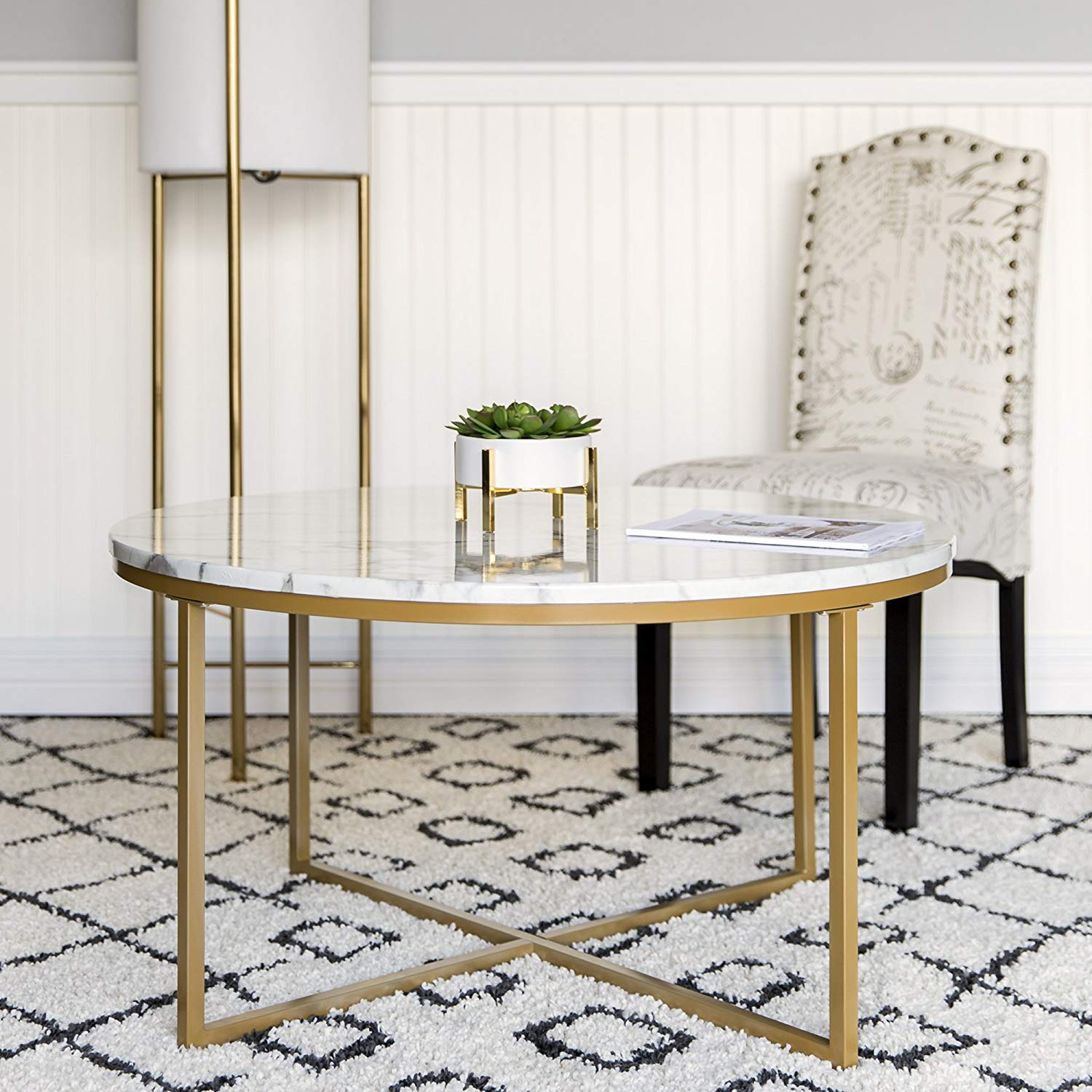 best choice products modern living room round accent table with screw legs side coffee metal frame faux marble top white gold kitchen dining counter height set lamp patio and