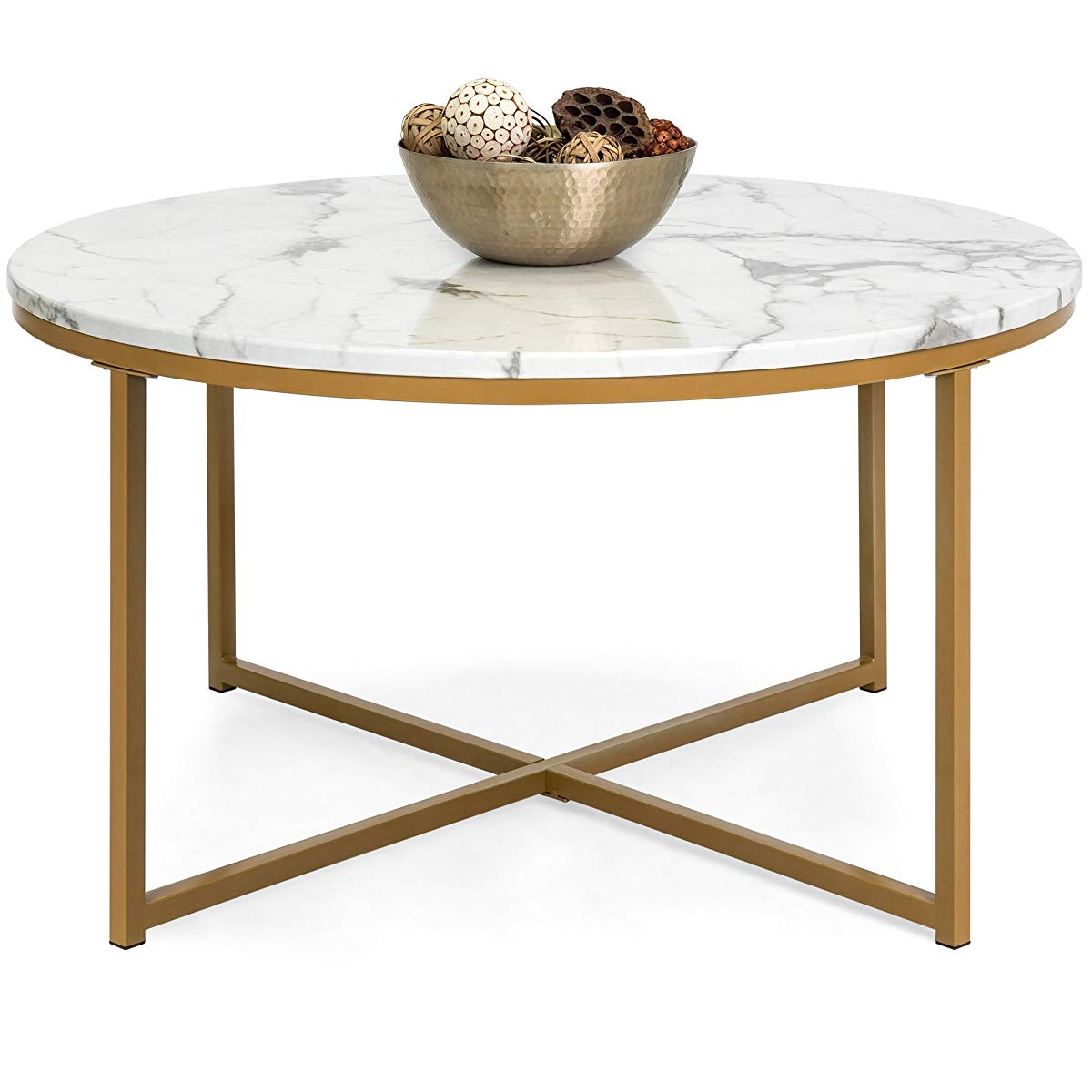 best choice products modern living room round faux marble top white gold accent table coffee side metal legs floor threshold transitions outdoor kitchen chairs wood and hairpin