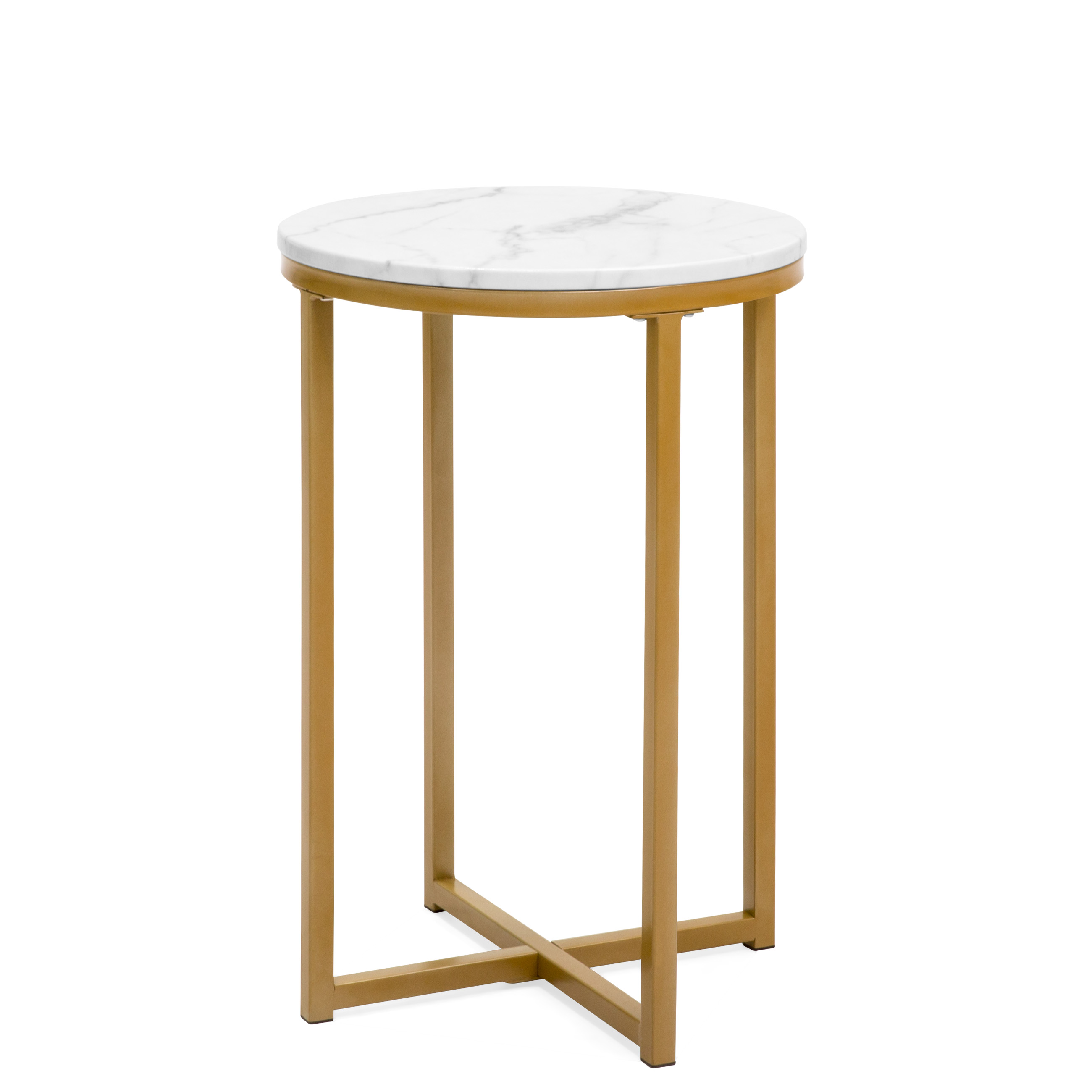 best choice products modern living room round side end accent gold table with marble top coffee nightstand metal frame faux white little lamp bedside cabinets venetian mirrored