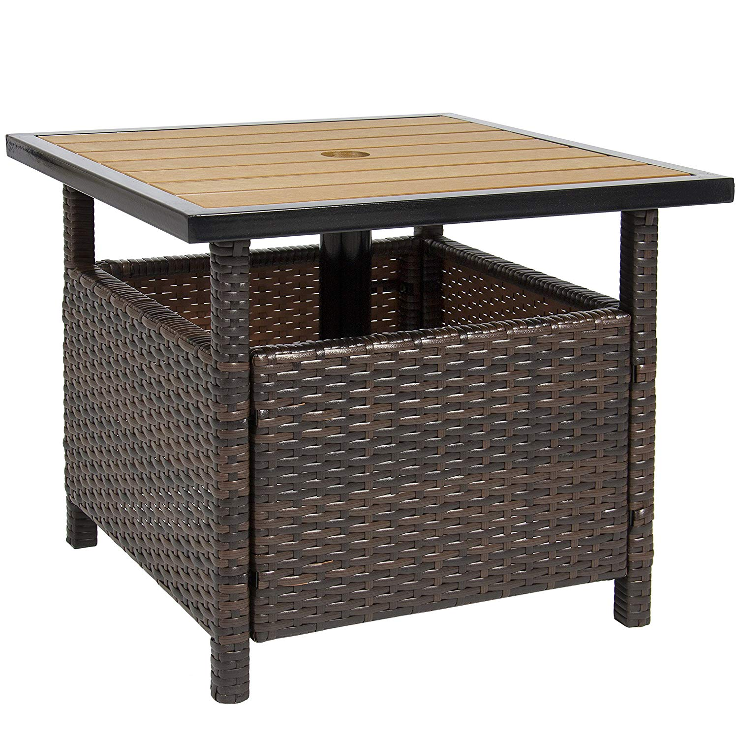 best choice products outdoor furniture wicker rattan patio umbrella accent table stand for garden pool deck brown antique living room tables wood end blue nightstand skinny couch