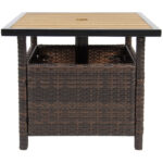 best choice products outdoor furniture wicker rattan patio umbrella side table stand for garden pool deck brown antique white accent dark coffee entry brass finish small tables 150x150