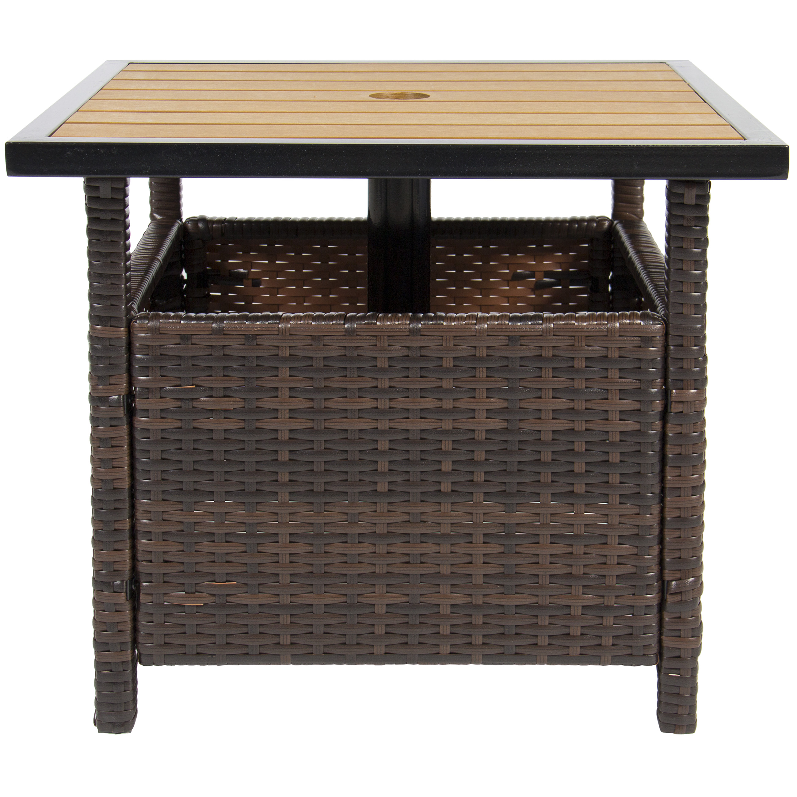 best choice products outdoor furniture wicker rattan patio umbrella side table stand for garden pool deck brown antique white accent dark coffee entry brass finish small tables