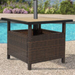 best choice products outdoor furniture wicker rattan patio umbrella side table stand for garden pool deck brown metal threshold cover bunnings couch wood iron end teal bedroom 150x150