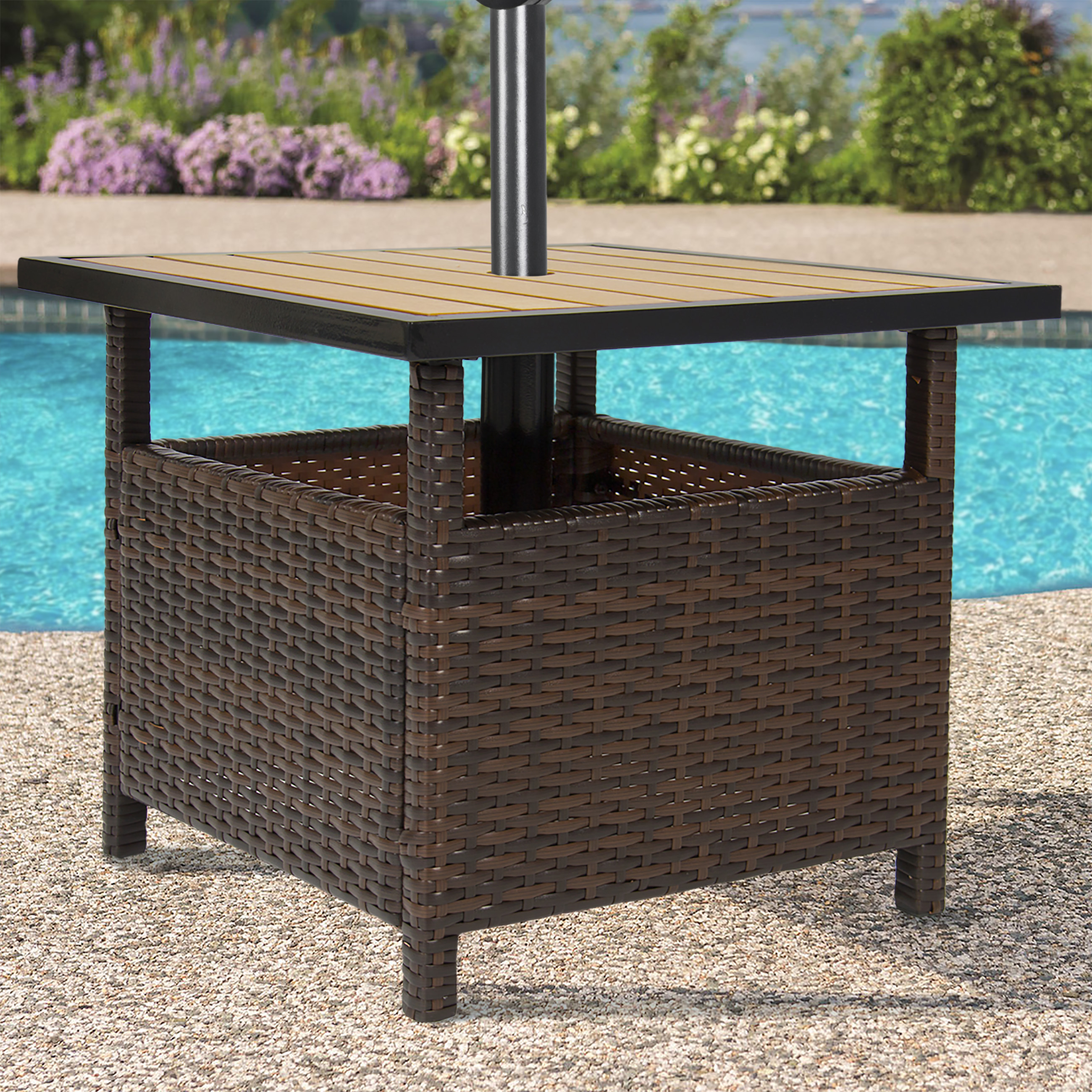 best choice products outdoor furniture wicker rattan patio umbrella side table stand for garden pool deck brown metal threshold cover bunnings couch wood iron end teal bedroom
