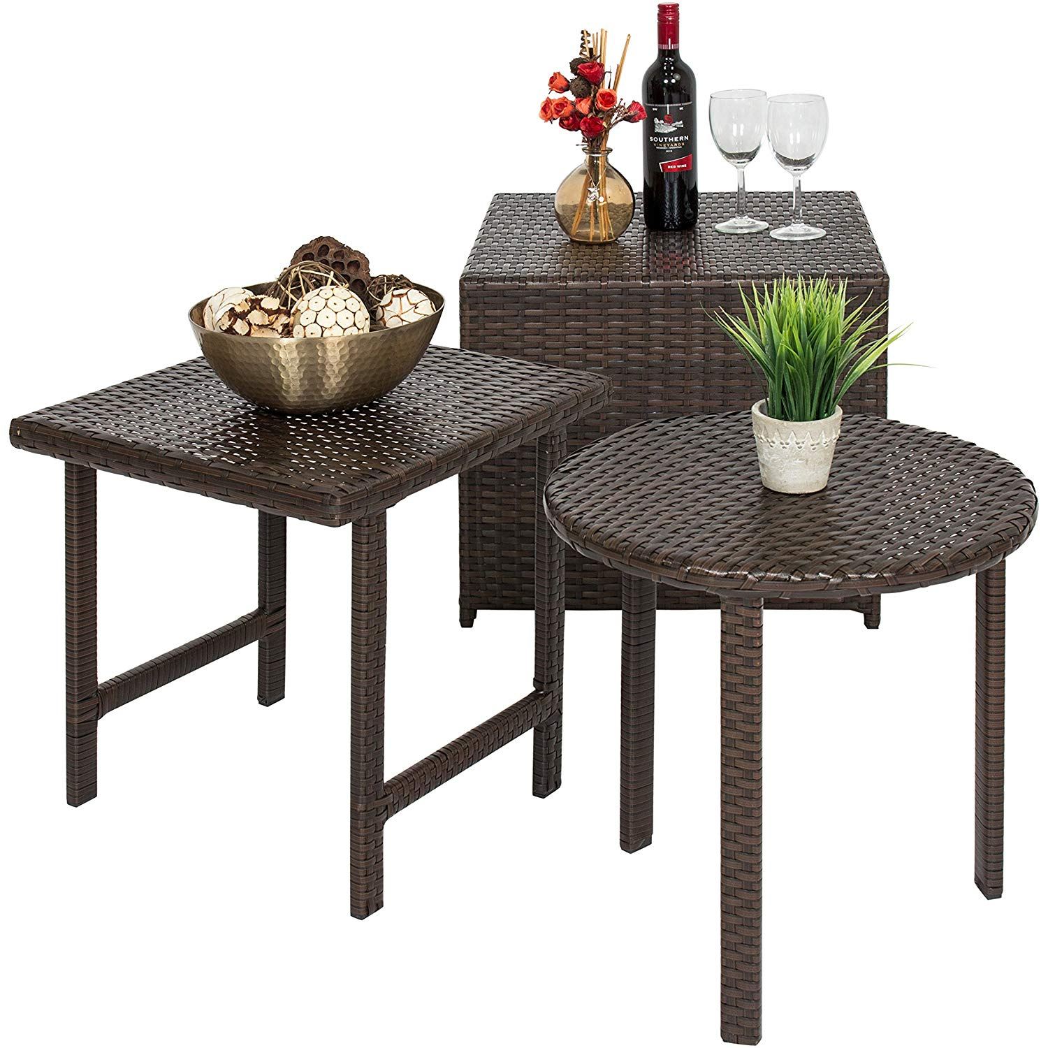best choice products outdoor patio furniture piece side table and chairs wicker set garden gold lamp with black shade red magnussen allure end under cabinet wine rack metal couch