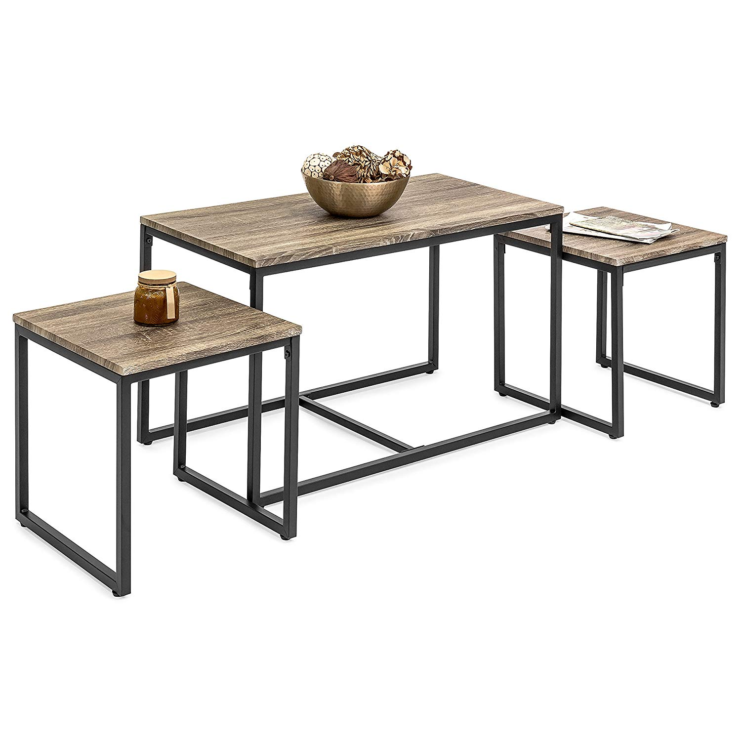 best choice products piece modern lightweight nesting coffee and accent table sets living room furniture lounge set end tables brown kitchen round toronto wicker patio chairs wine