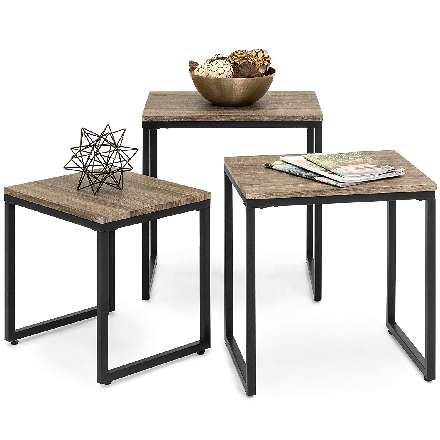 best choice products piece modern lightweight room essentials stacking accent table stackable nesting coffee end living furniture lounge set brown kitchen wooden plans pier one