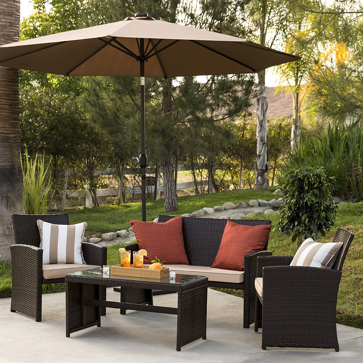 best choice products piece wicker patio furniture set outdoor side table calgary tempered glass sofas cushioned seats brown garden clip light ashley dining chairs ikea ott real