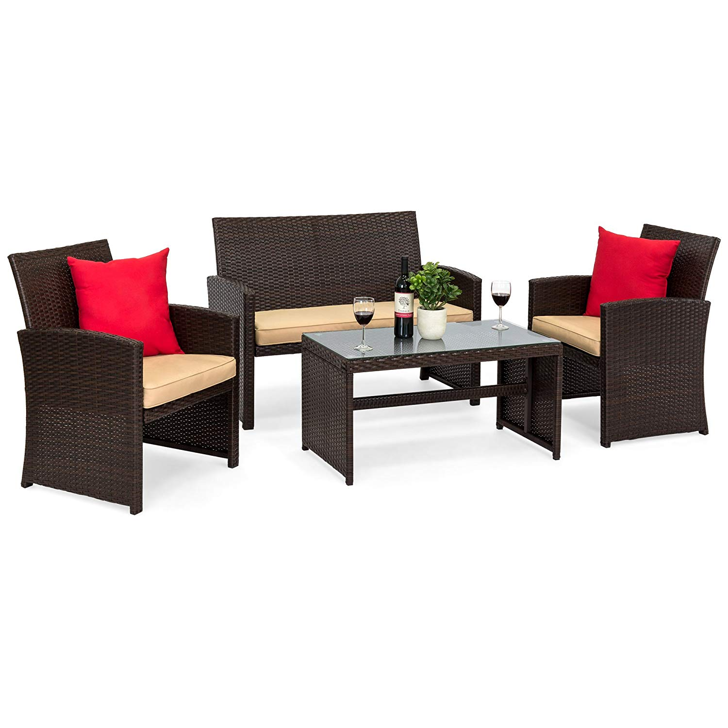 best choice products piece wicker patio furniture set outdoor side table calgary tempered glass sofas cushioned seats brown garden ikea ott acrylic with shelf clip light black and