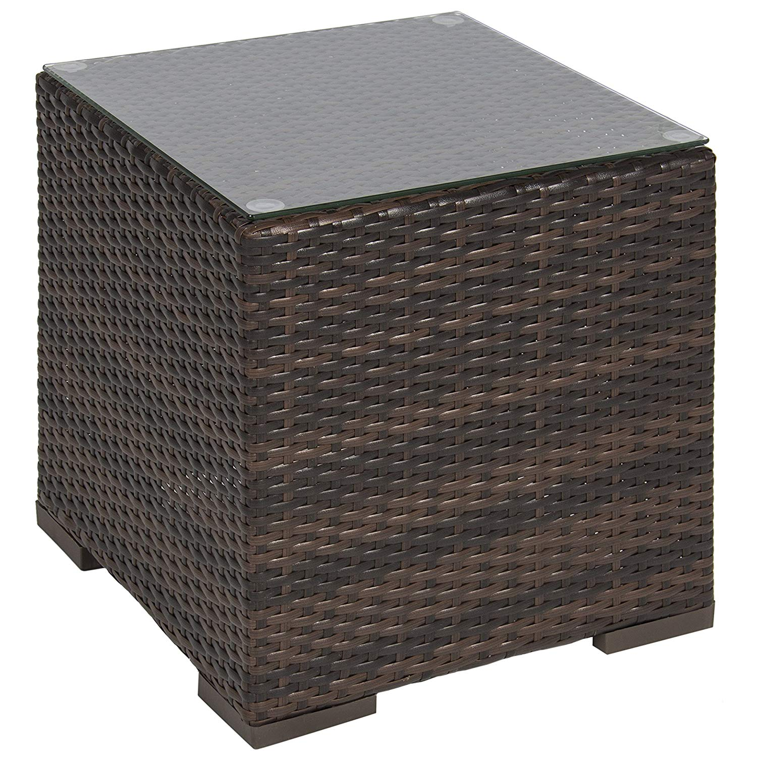 best choice products wicker rattan side table outdoor patio furniture garden deck pool rose gold pub style height gossip bench phone narrow telephone brown leather accent chair
