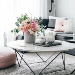 best coffee table decorating ideas and designs for homebnc accents peachy spring flower arrangement with geometric vases vintage brass glass green runner black half moon console 150x150