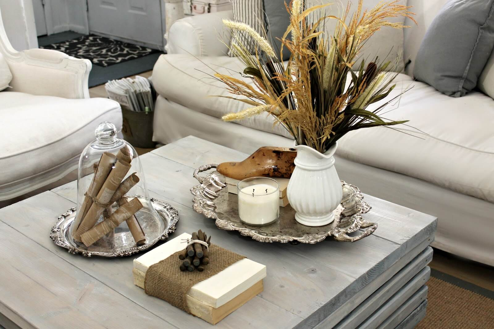 best coffee table decorating ideas and designs for homebnc small silver accent earth toned brown white natural element display with accents vintage cut crystal lamp mission cane