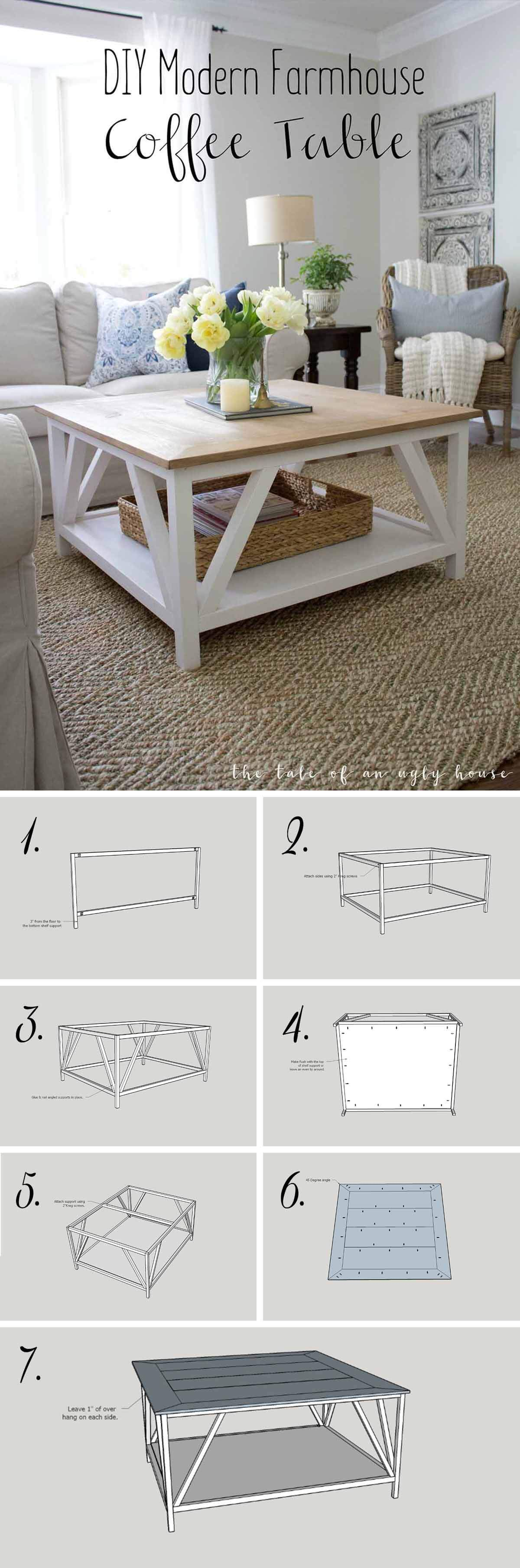 best diy farmhouse coffee table ideas and designs for homebnc small accent pretty cottage inspired bright white look silver wall clock trestle dining round foyer entry extra long