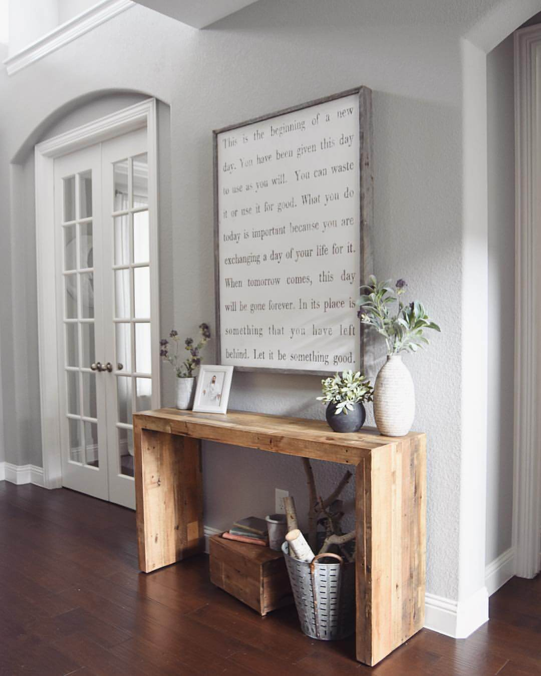 best farmhouse wall decor ideas and designs for homebnc style accent table mod wood with oversized quote vintage corner lamps hand painted porcelain mini bedside lamp outside bar