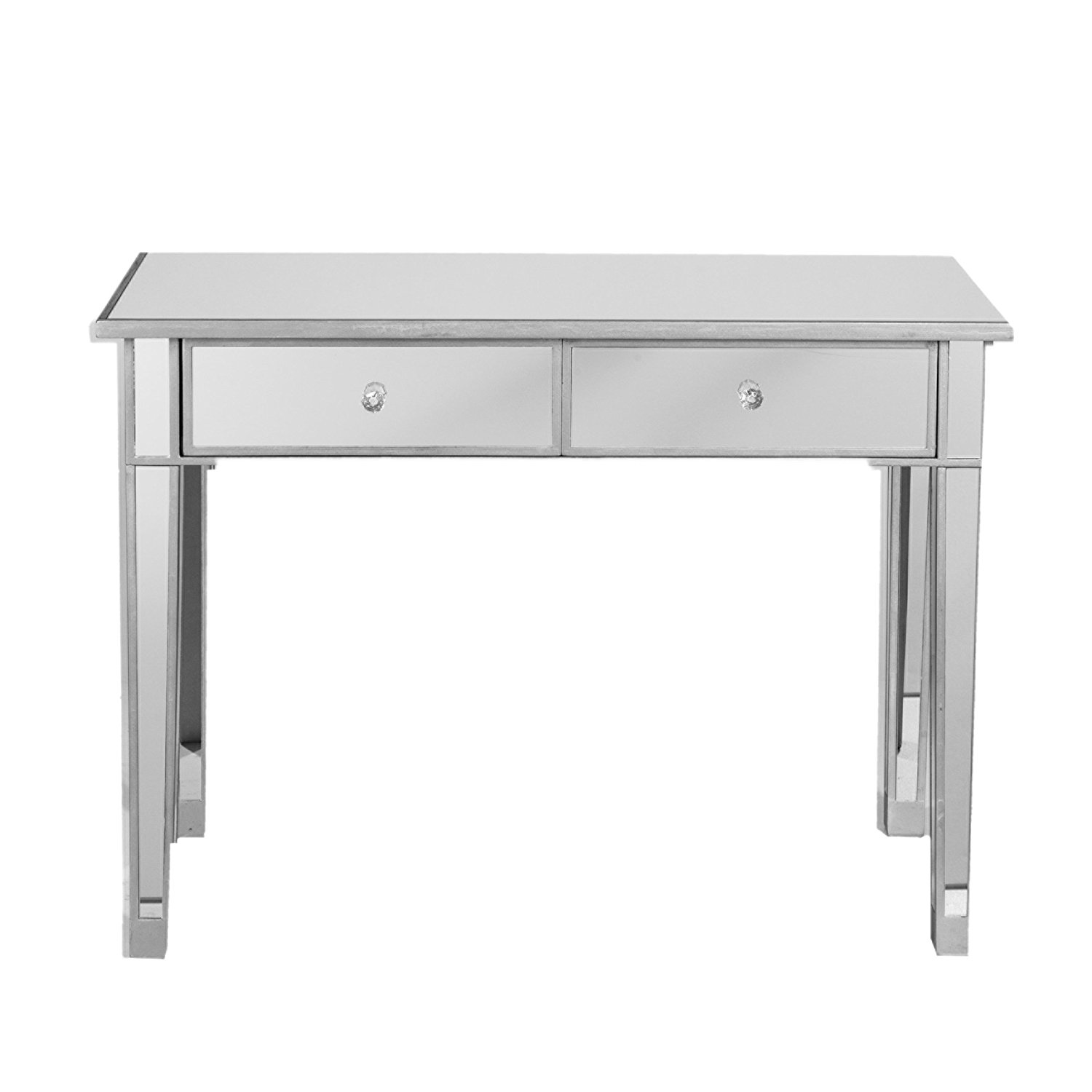 best glass mirrored accent table for beautiful touch homeindec southern enterprises mirage drawer media console matte silver finish with faux crystal knobs chandelier nightstand