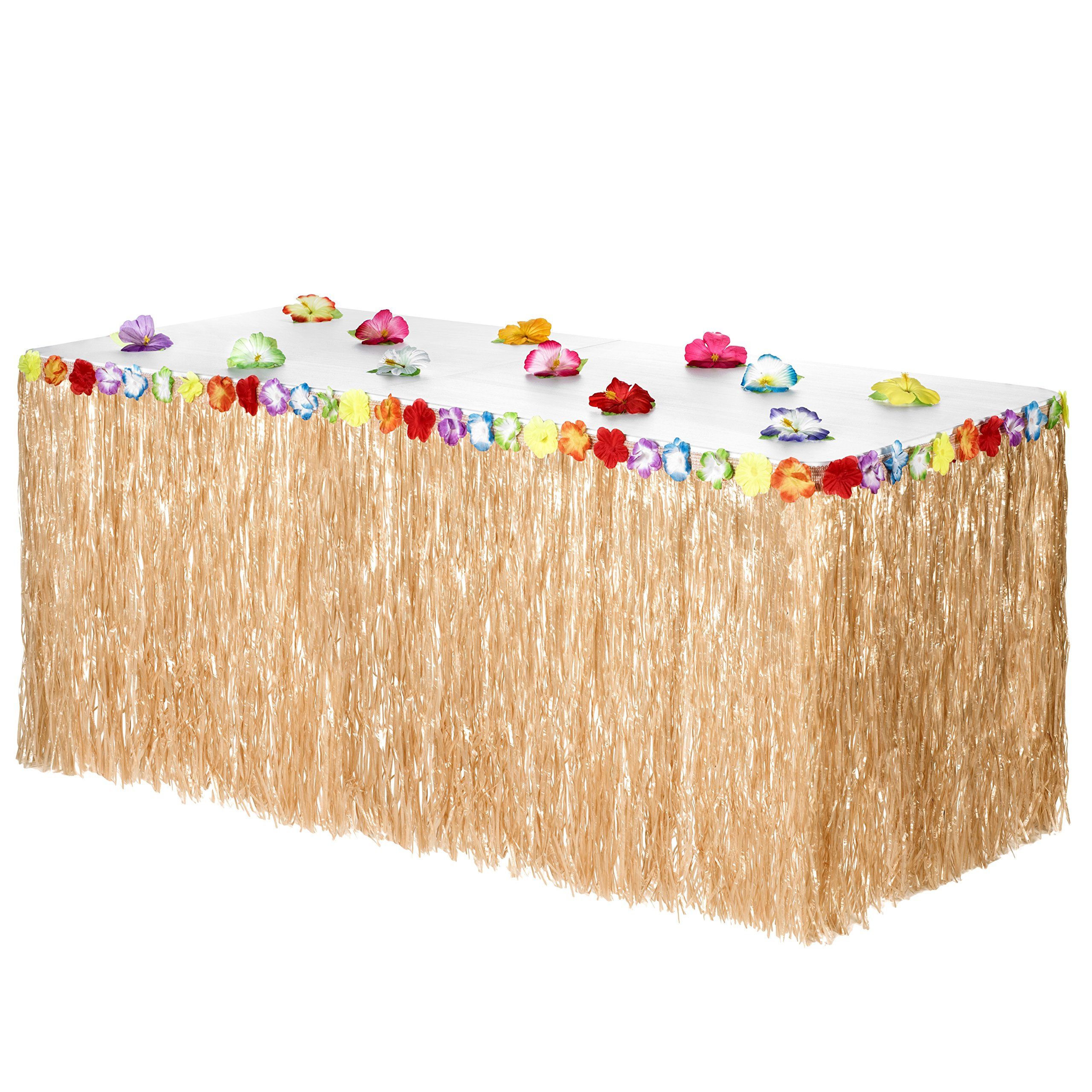 best rated disposable table covers helpful customer reviews artistic accents tablecloth luau grass skirt bonus hibiscus flowers includes adhesive perfect beach tiki tro island