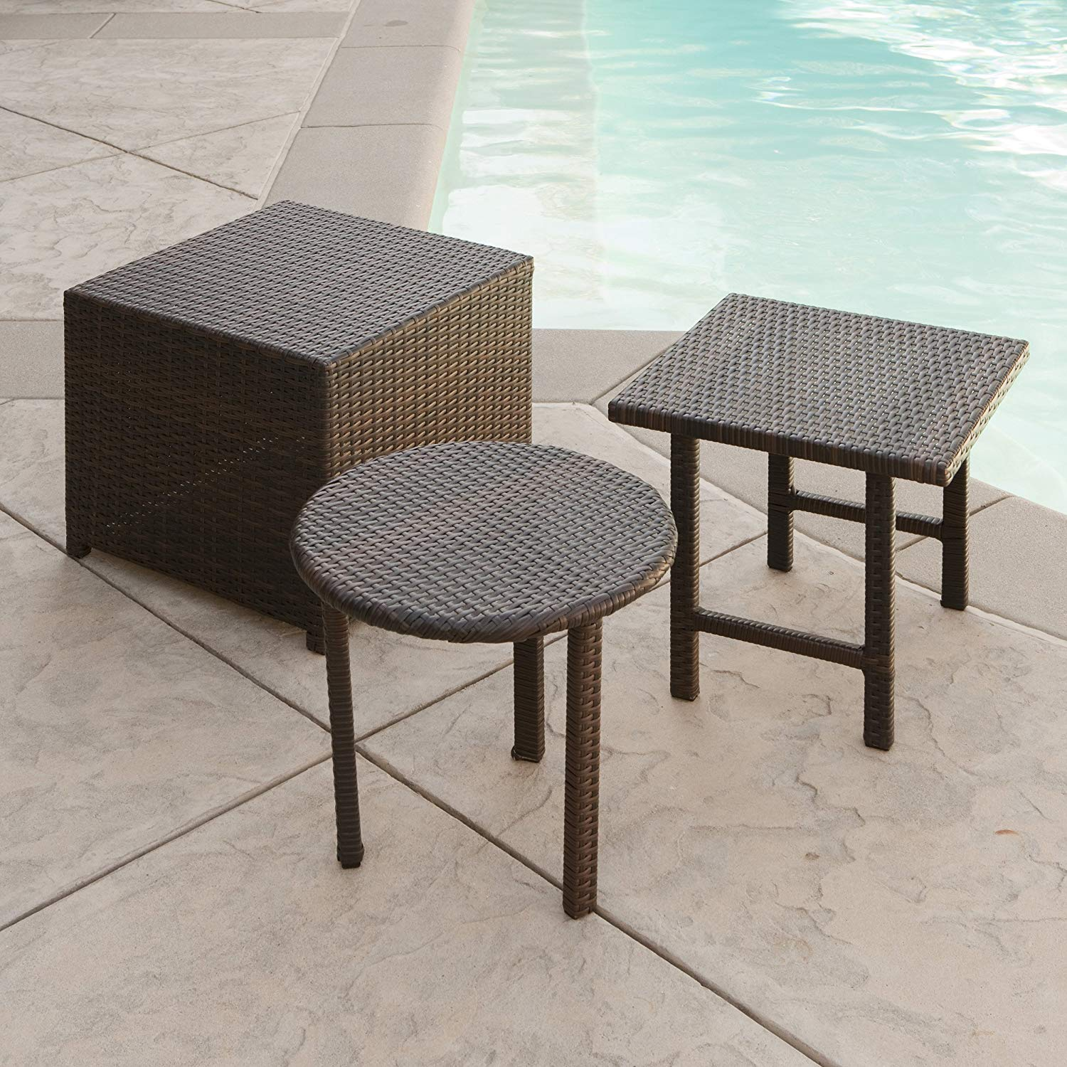best selling palmilla wicker table set multibrown outdoor accent patio side tables garden lamps with usb and half moon foyer living room accessories ideas contemporary furniture