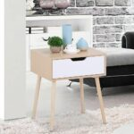 best side tables under curbed pink marble accent table yaheetech walnut bedside long narrow light shower head dinner battery lamps indoor ikea lounge room corner for bedroom metal 150x150