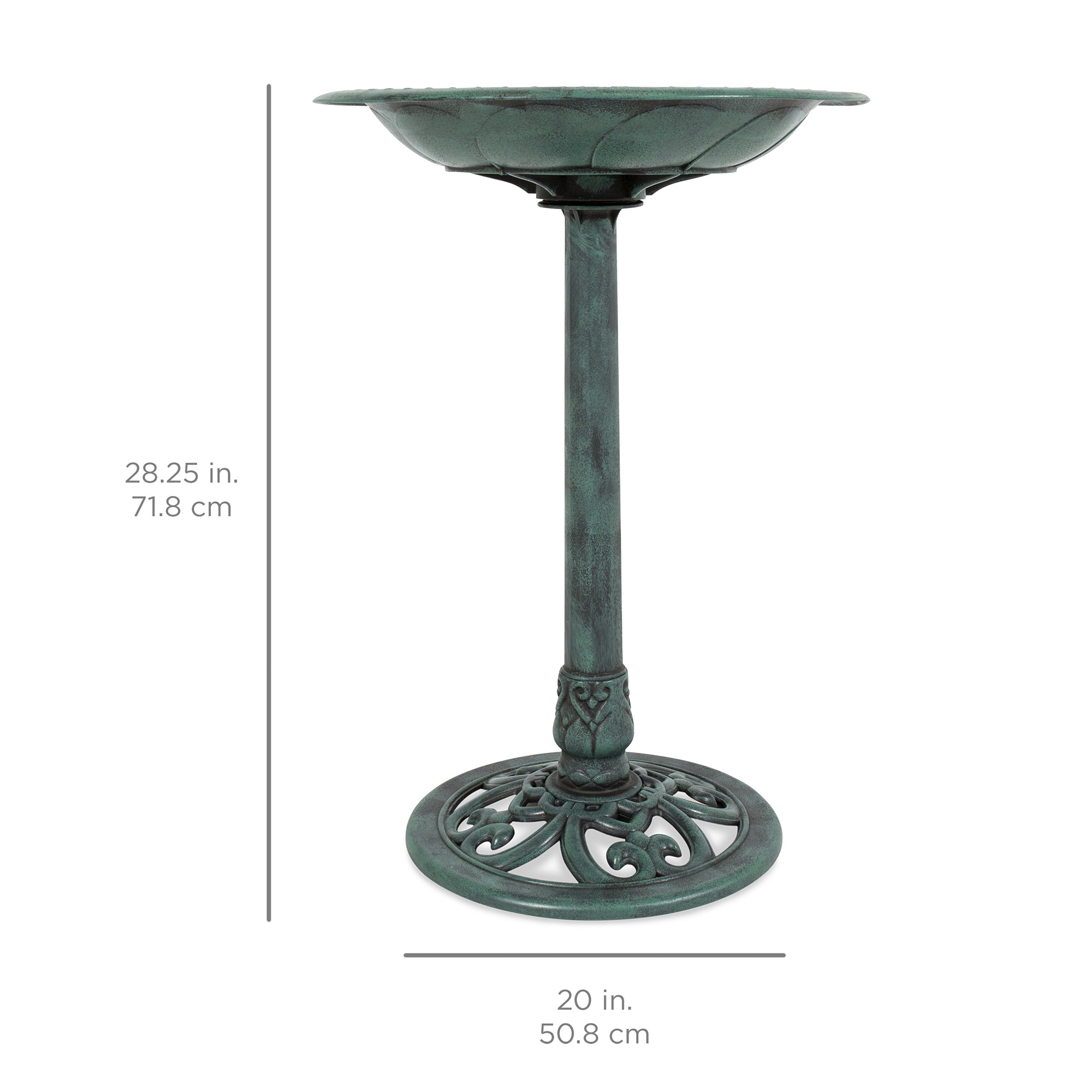 bestchoiceproducts best choice products outdoor vintage pedestal umbrella accent table bird bath decoration for garden yard painted tables industrial couch brass leg coffee high