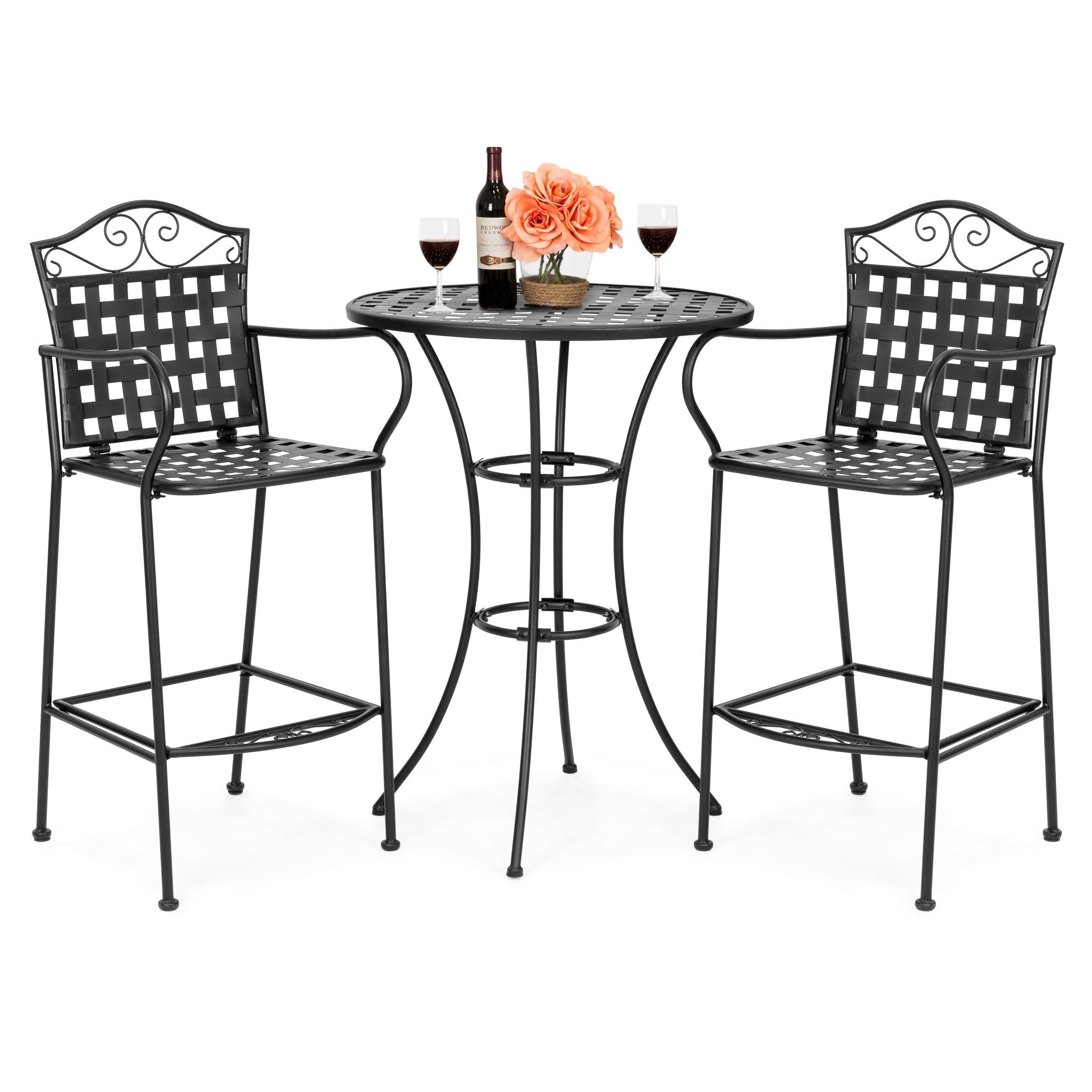 bestchoiceproducts best choice products piece woven pattern wrought iron patio accent table bar height bistro set white furniture company steel and glass side inch round