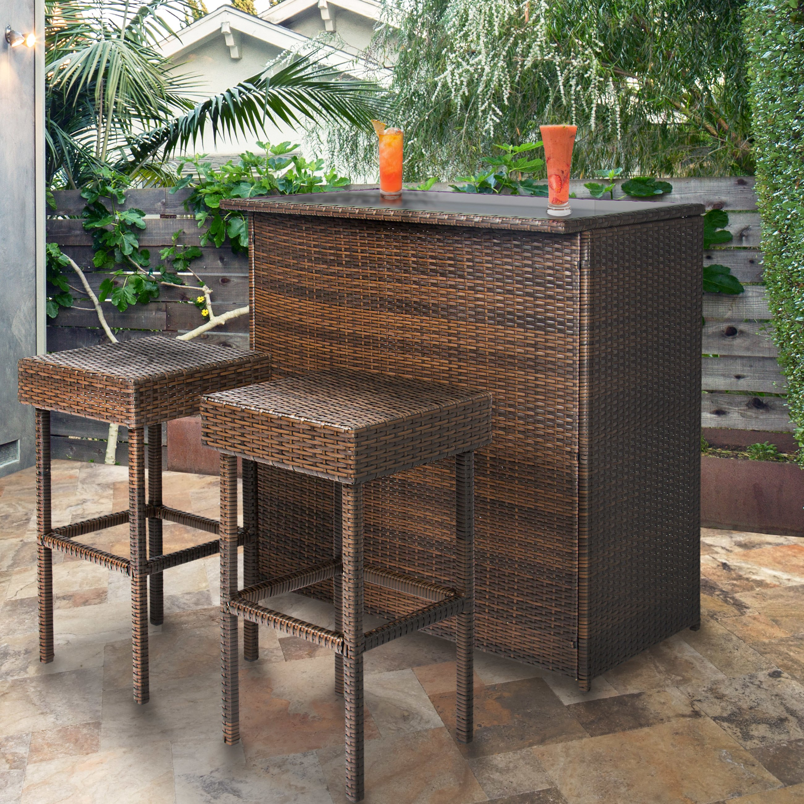 bestchoiceproducts best choice products wicker bar set patio outdoor woven metal accent table threshold backyard stools rattan garden nautical kitchen decor whole covers ethan