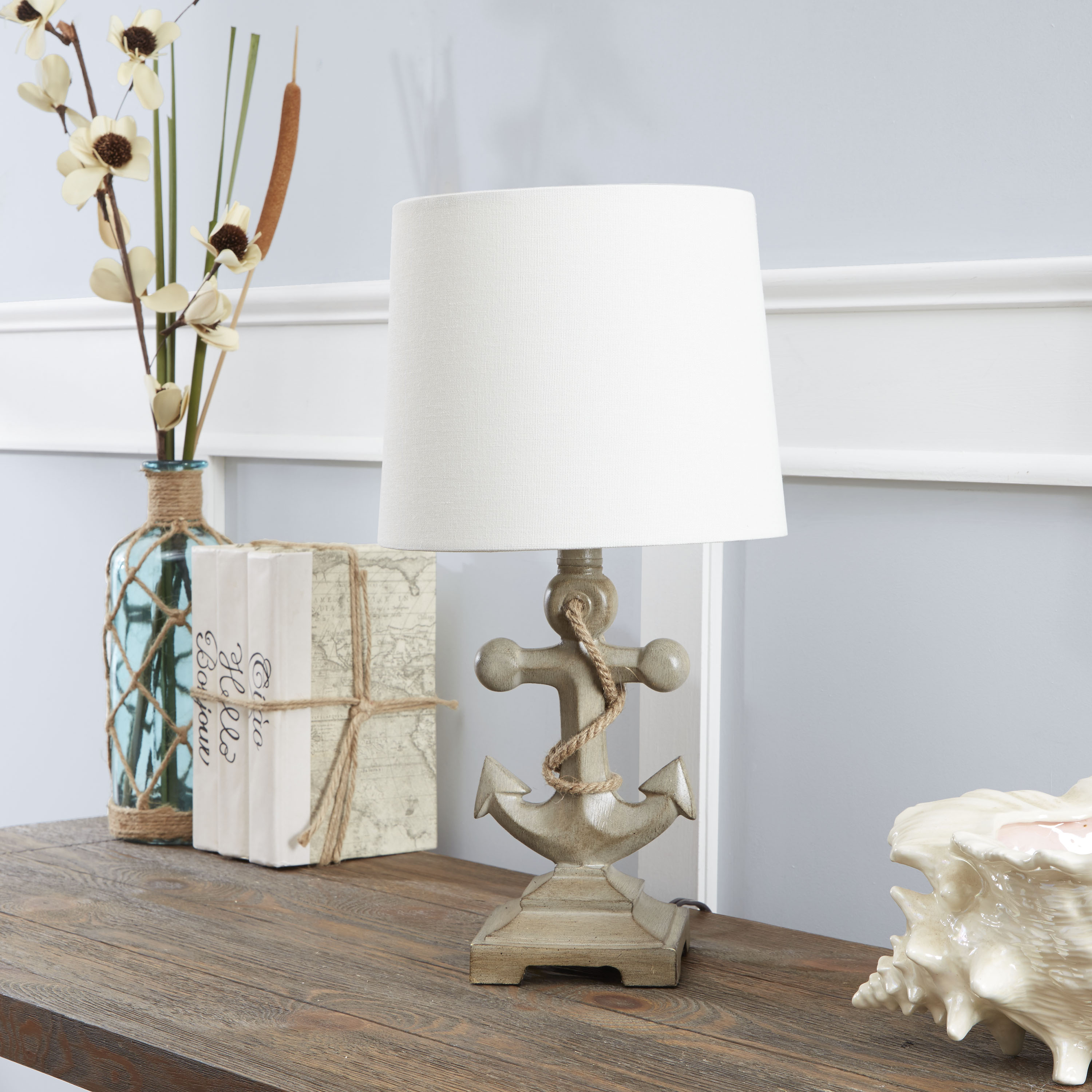 better homes and gardens anchor driftwood accent table lamp white round metal side pub height chairs contemporary lighting nate berkus marble silver bedroom lamps console half
