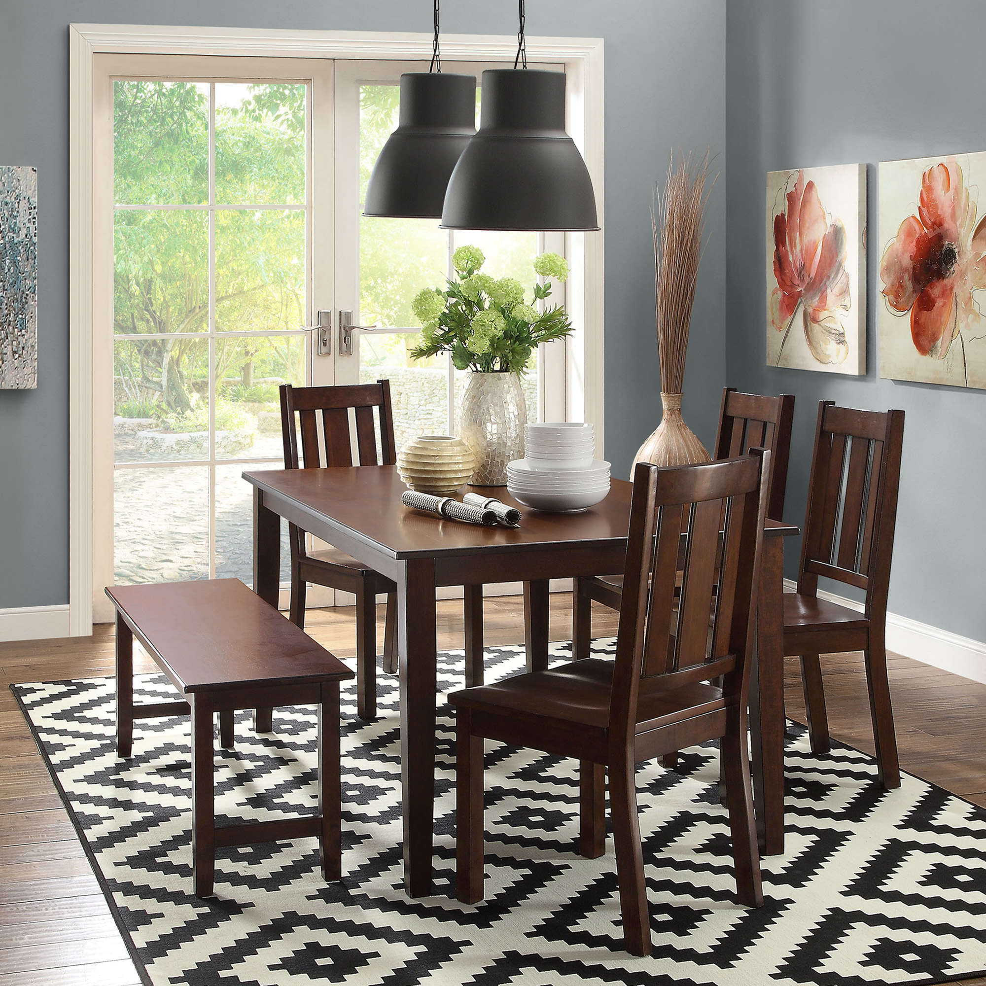 better homes and gardens bankston dining chairs set mocha ave six piece fabric chair accent table vintage swedish furniture barn door closet doors modern armchair marble top