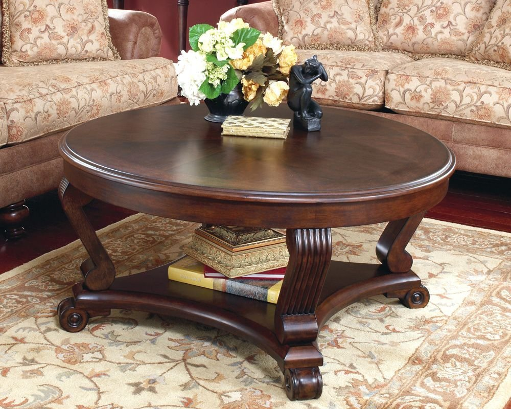 better homes and gardens coffee tables small house interior design ashley furniture round table discontinued mercer accent vintage oak traditional end glass nola brown leather