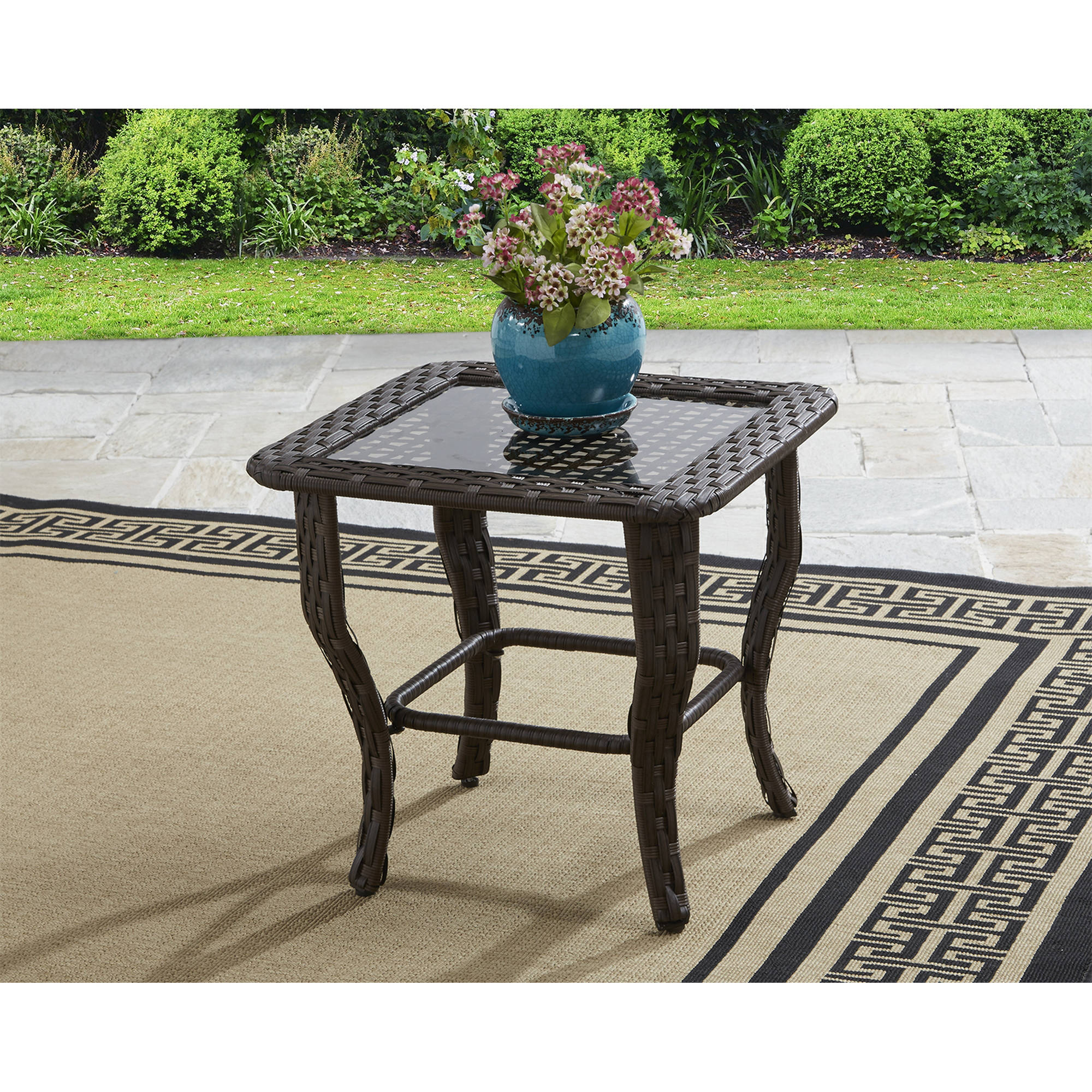better homes and gardens colebrook outdoor glass top side table metal diy living room rustic industrial end teak garden furniture transition trim hampton bay piece coffee set