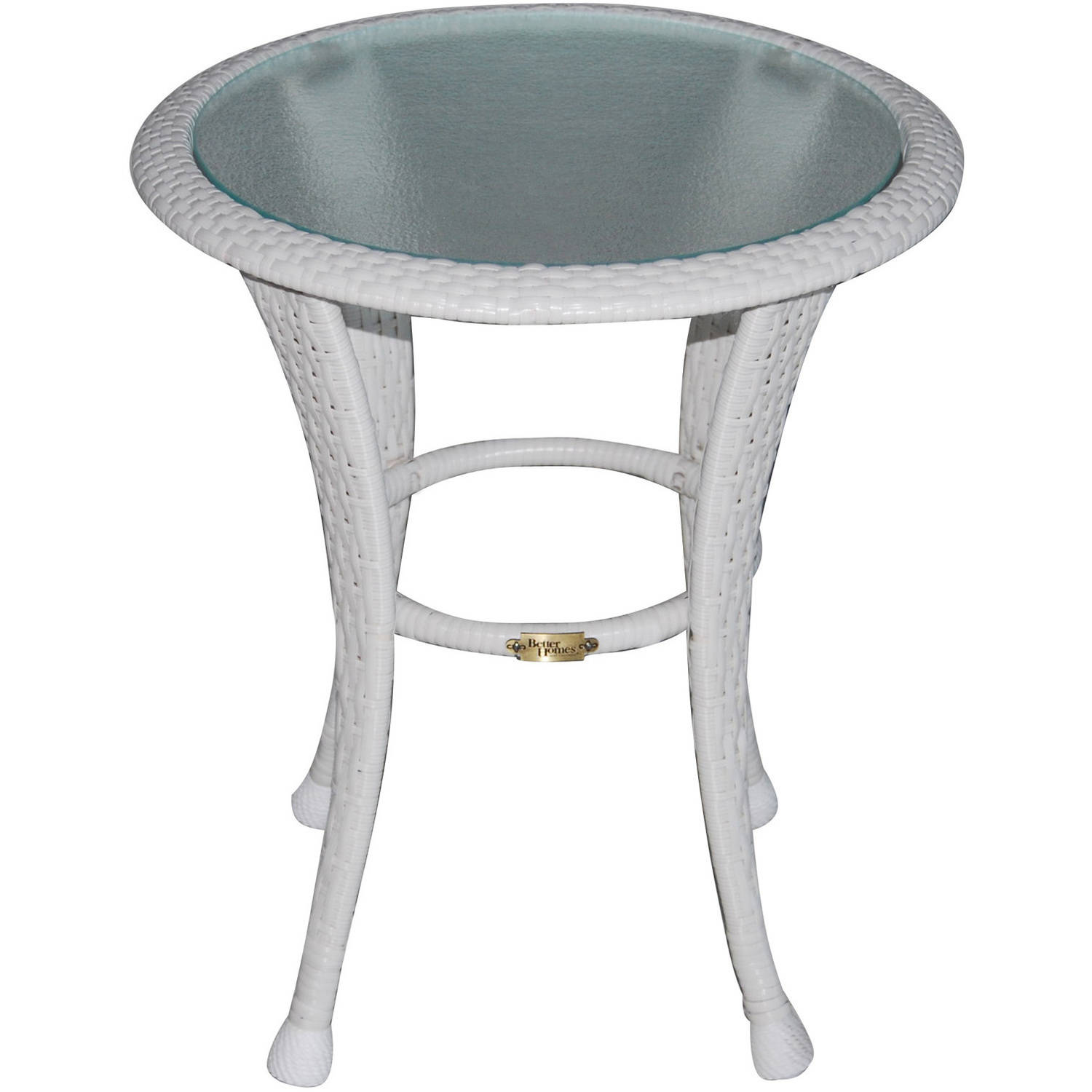 better homes and gardens colebrook outdoor glass top side table white patio accent ashley furniture modern square end pier imports tables kroger circular cover round brass small