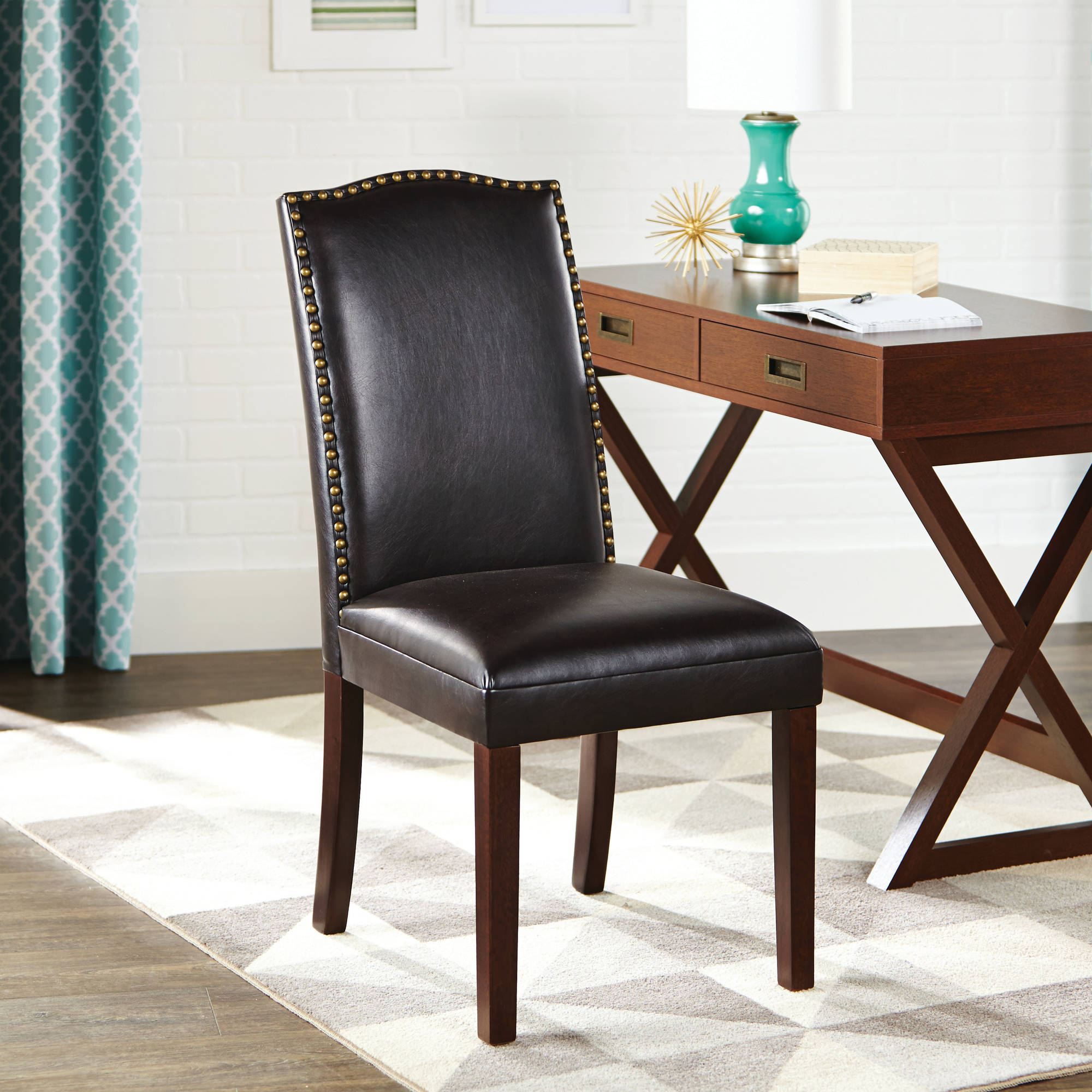 better homes and gardens faux leather accent chair with nailheads piece table set wrought iron occasional tables battery operated wall clock target dressers threshold transition