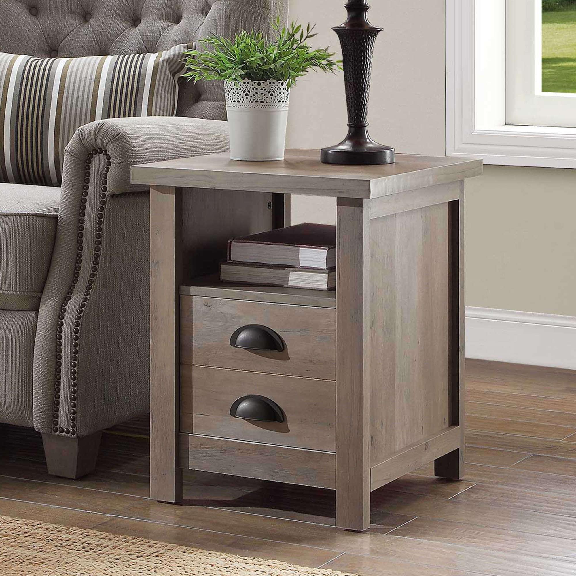 better homes and gardens granary modern farmhouse end table multiple finishes accent with drawer fire pit chairs small wood metal coffee target threshold marble oblong tablecloth