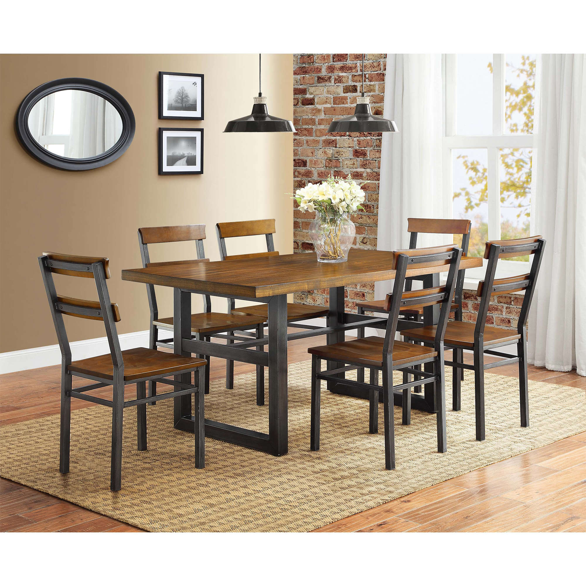 better homes and gardens mercer dining table vintage oak finish accent round patio set solid pine bookcase end stands for living room gold hairpin legs giant umbrella diy small