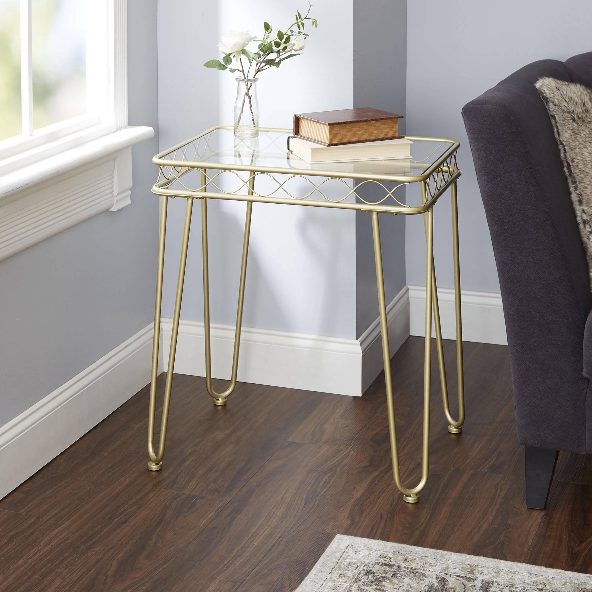 better homes and gardens metal accent table gold tempered glass top mirabella res tuscan furniture tall lamps garden rustic chic end tables white modern side shower curtains