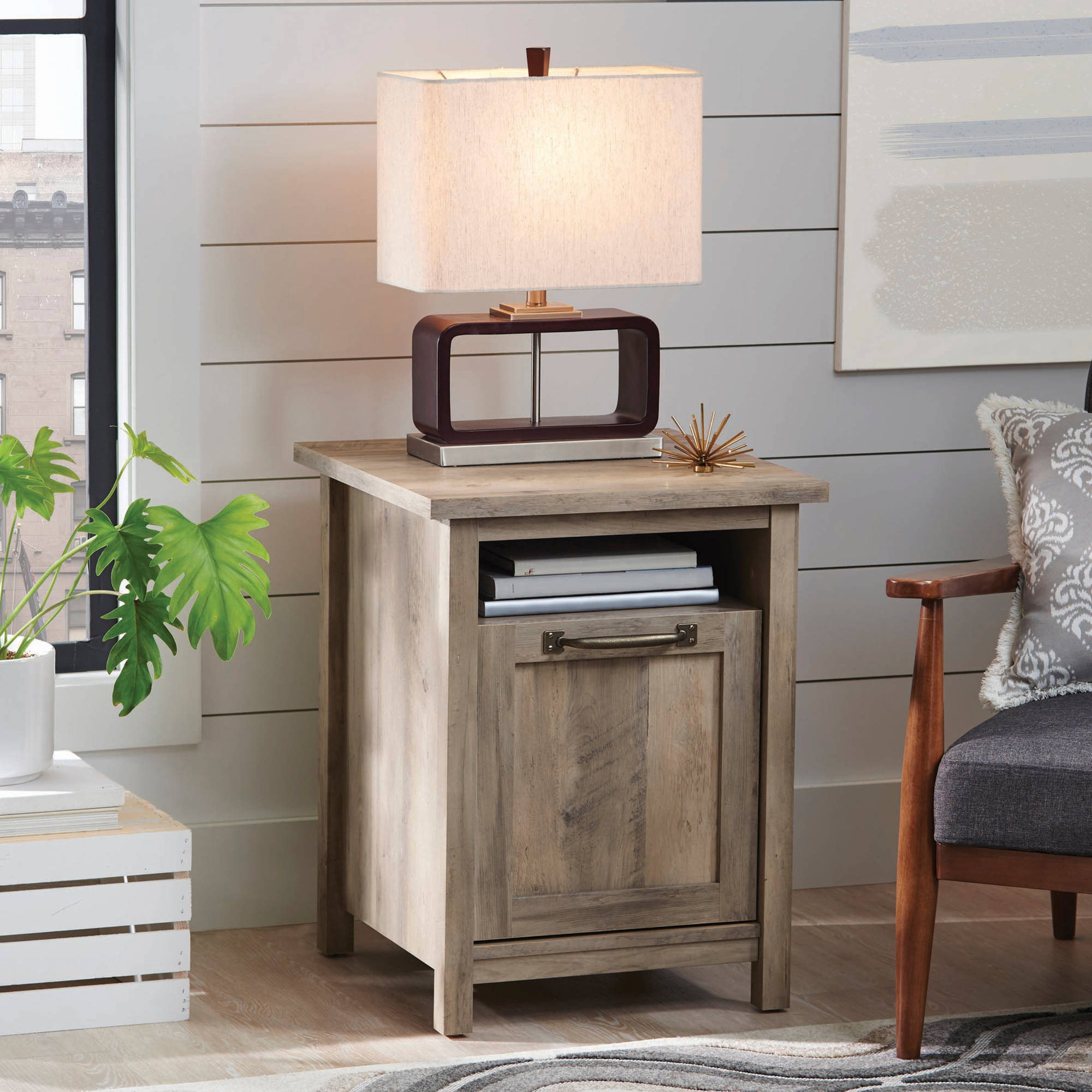 better homes and gardens modern farmhouse side table accent round tray metal counter height dining room solid wood farm glass coffee entryway with storage baskets tall square