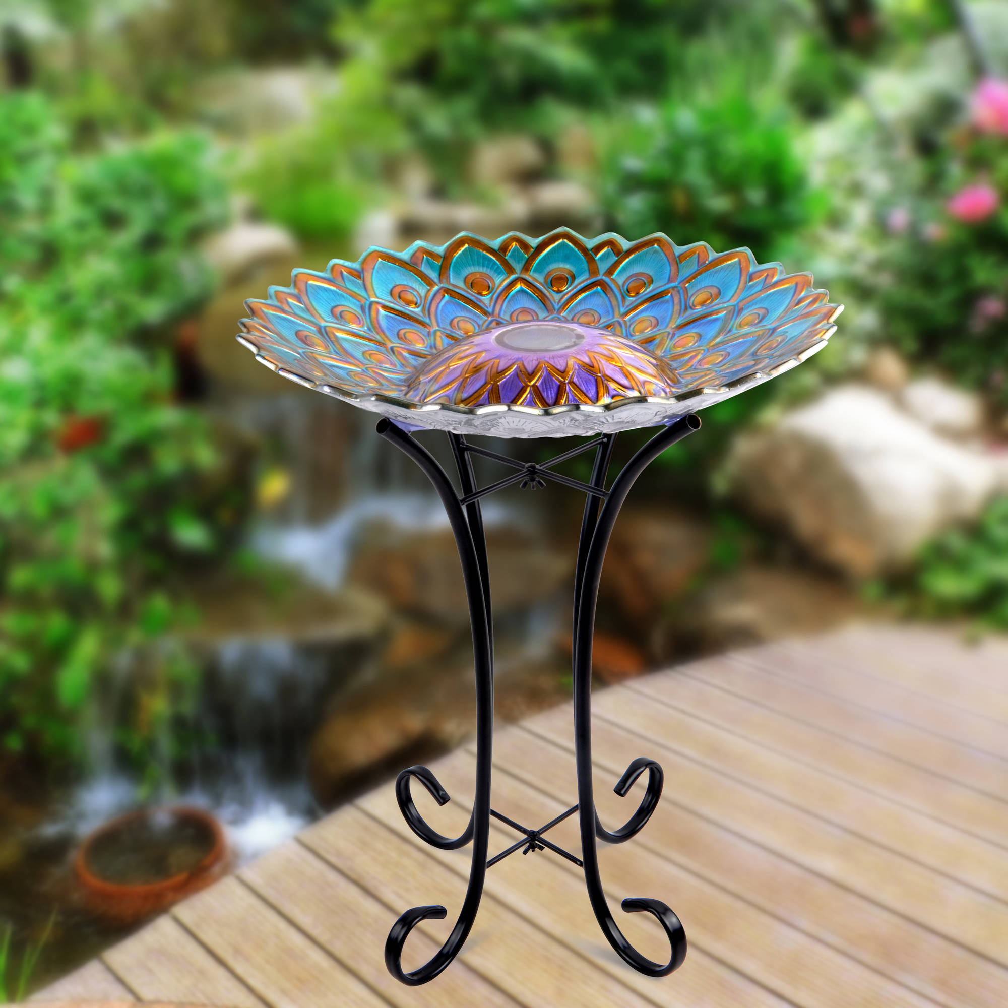 better homes and gardens solar birdbath blue metal accent table reading lamp mosaic garden bench junior drum stool barrel adjustable coffee ikea sage green paint chrome glass