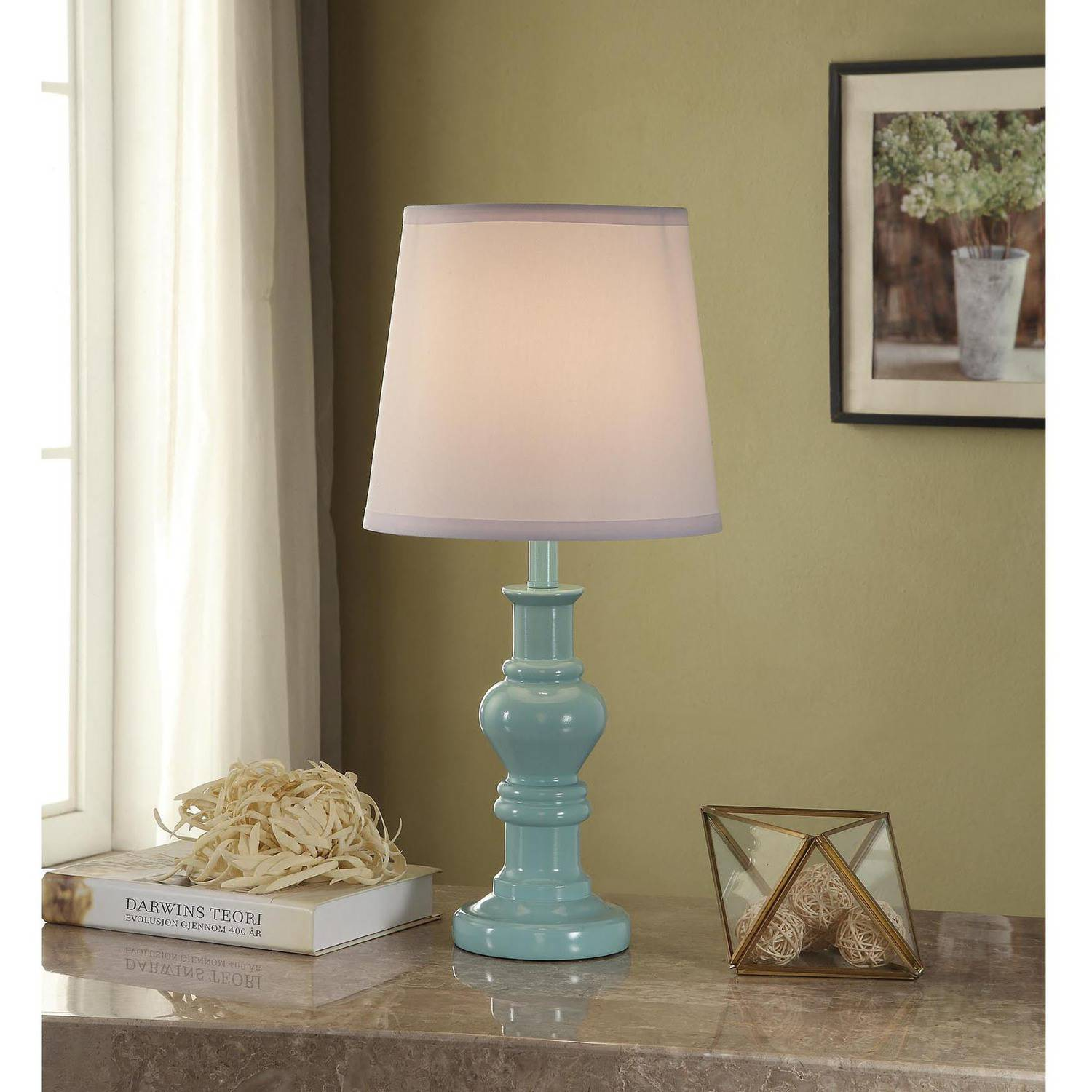 better homes and gardens teal accent table lamp base with cfl bulb small glass console farm coffee distressed white set custom dining tables entryway cabinet doors marble high top