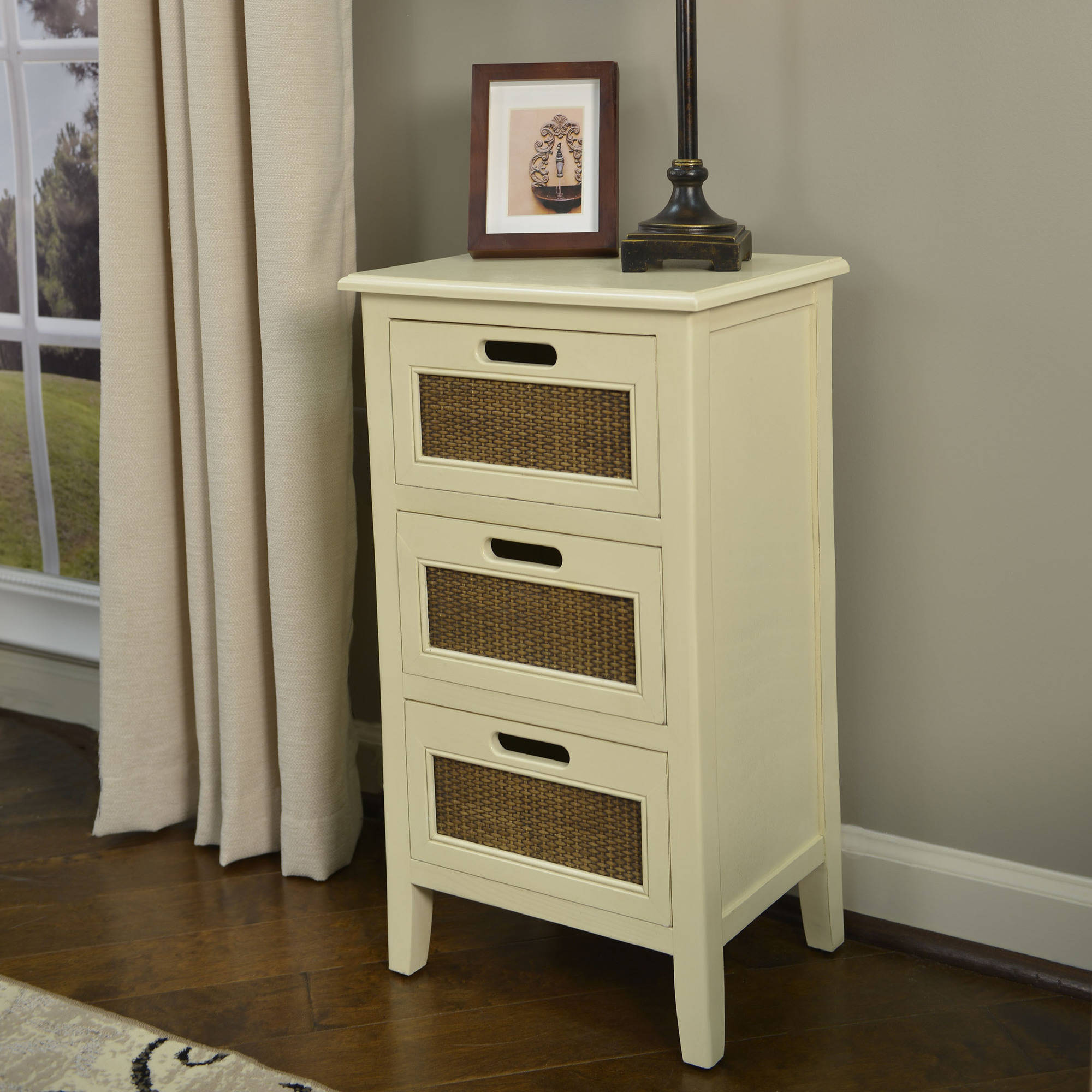 better homes and gardens wicker accent drawer table multiple colors antique armoire solid pine coffee white with drawers standard lamps gold brass hardwood tile wood end tables