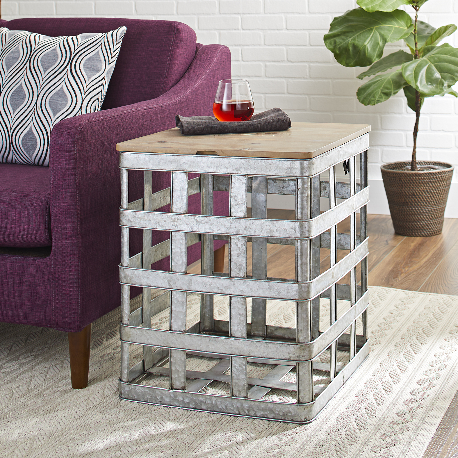 better homes and gardens wood galvanized metal lift top accent table silver mirrored bedside furniture pottery barn pine demilune console bar towels marble piece set modern
