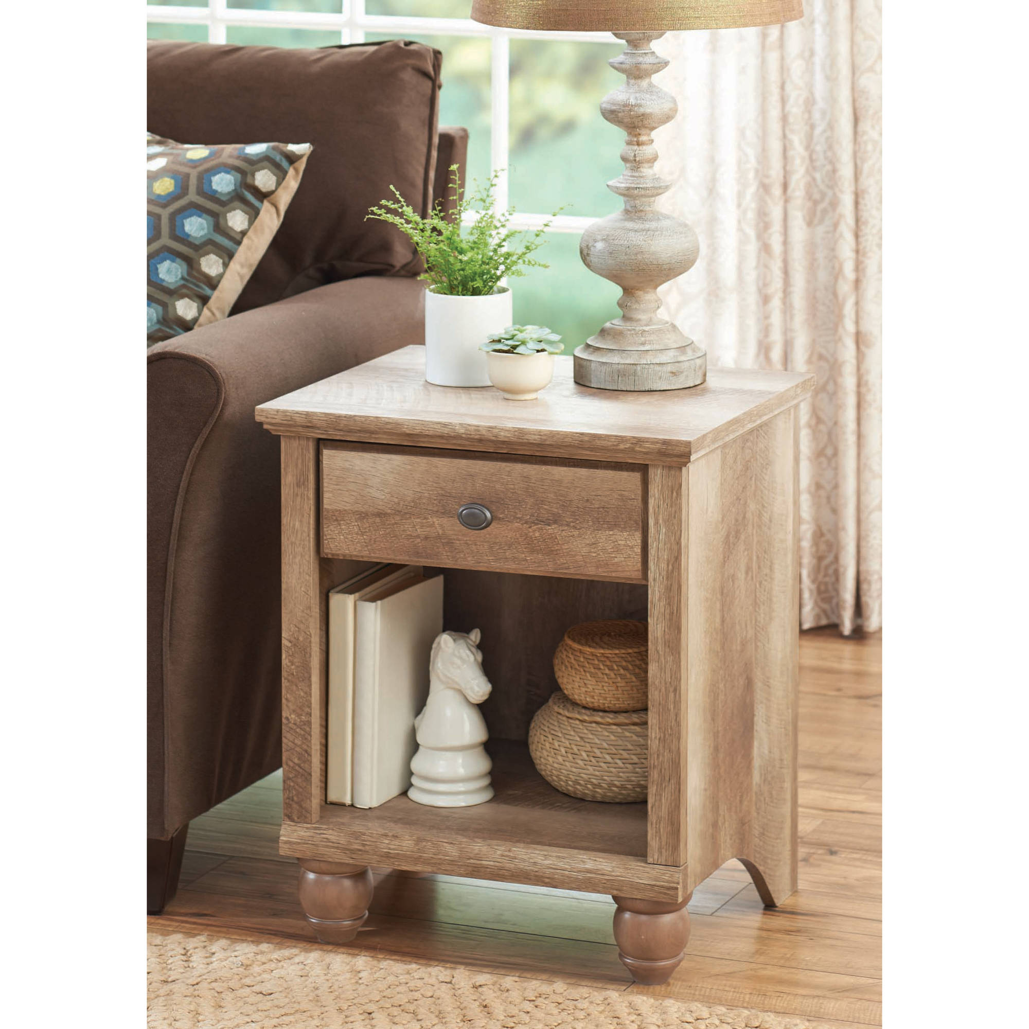 better homes gardens crossmill accent table weathered finish side with drawer drum seat cover glass patio end hall console gallerie chandelier cordless bedside lamps waterproof