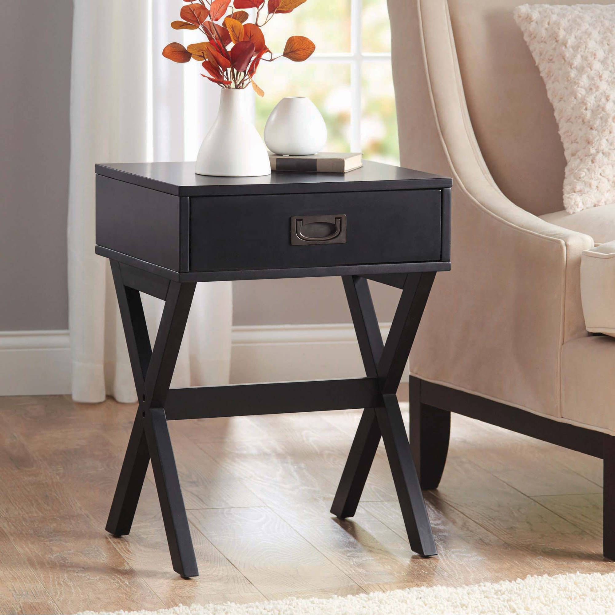 better homes gardens leg accent table with drawer multiple room essentials metal patio colors chairside drawers ashley furniture tables heavy umbrella base stands wade teton home